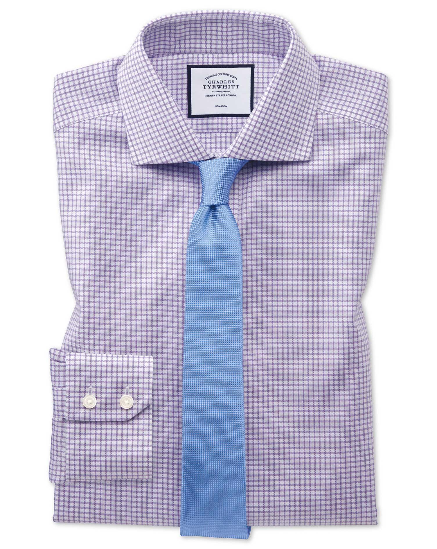 Extra Slim Fit Non-Iron Cutaway Collar Lilac Grid Check Oxford Stretch Cotton Formal Shirt Single Cu