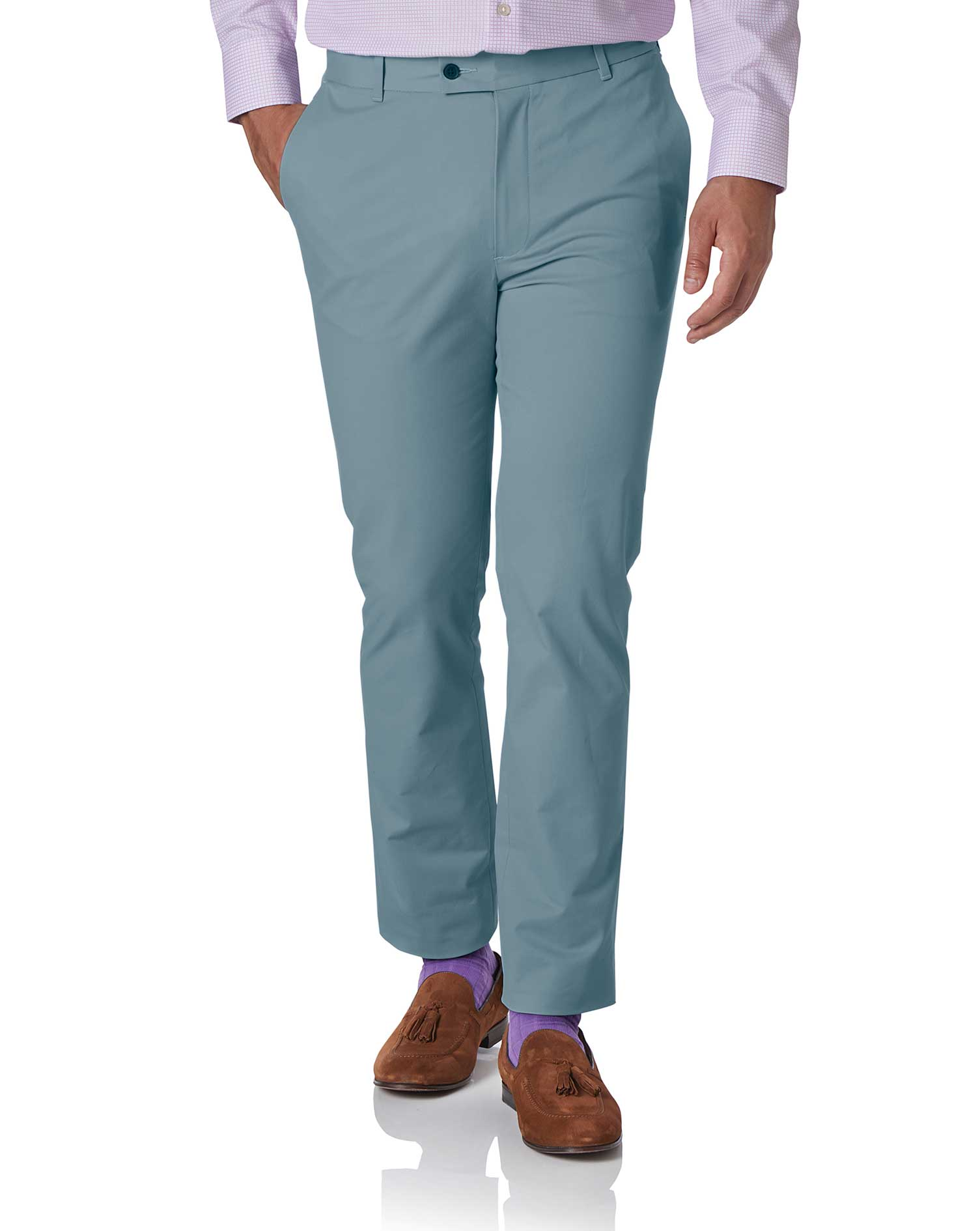 Sky Blue Extra Slim Fit Stretch Cotton Chino Trousers Size W32 L32 by Charles Tyrwhitt