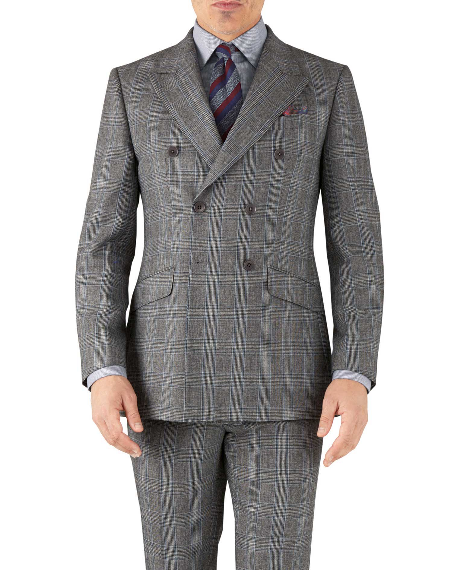 Silver Prince Of Wales Slim Fit Flannel Double Breasted Business Suit Wool Jacket Size 40 Long by Ch