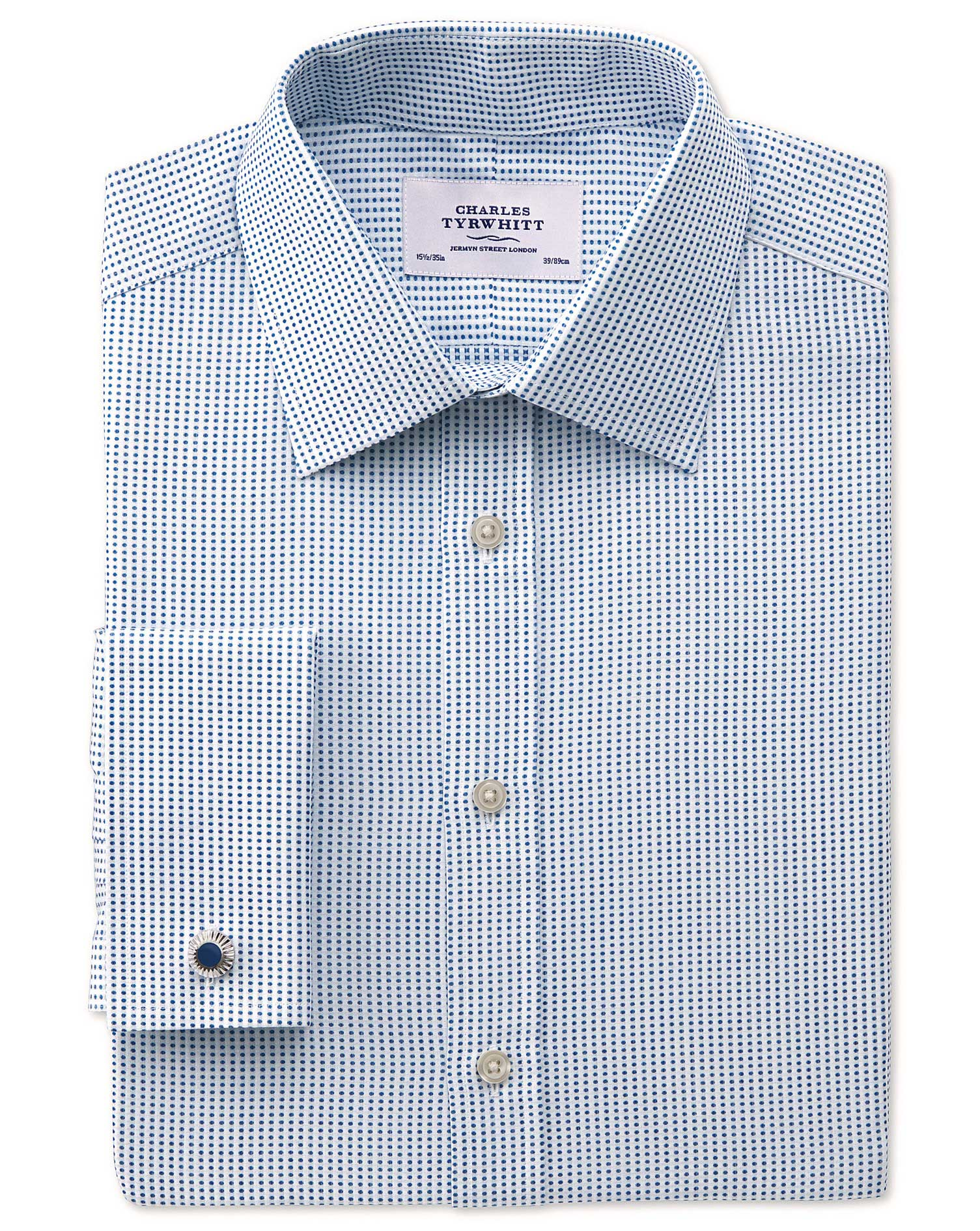 Extra Slim Fit Pima Cotton Double-Faced Navy Formal Shirt Double Cuff Size 15.5/33 by Charles Tyrwhi