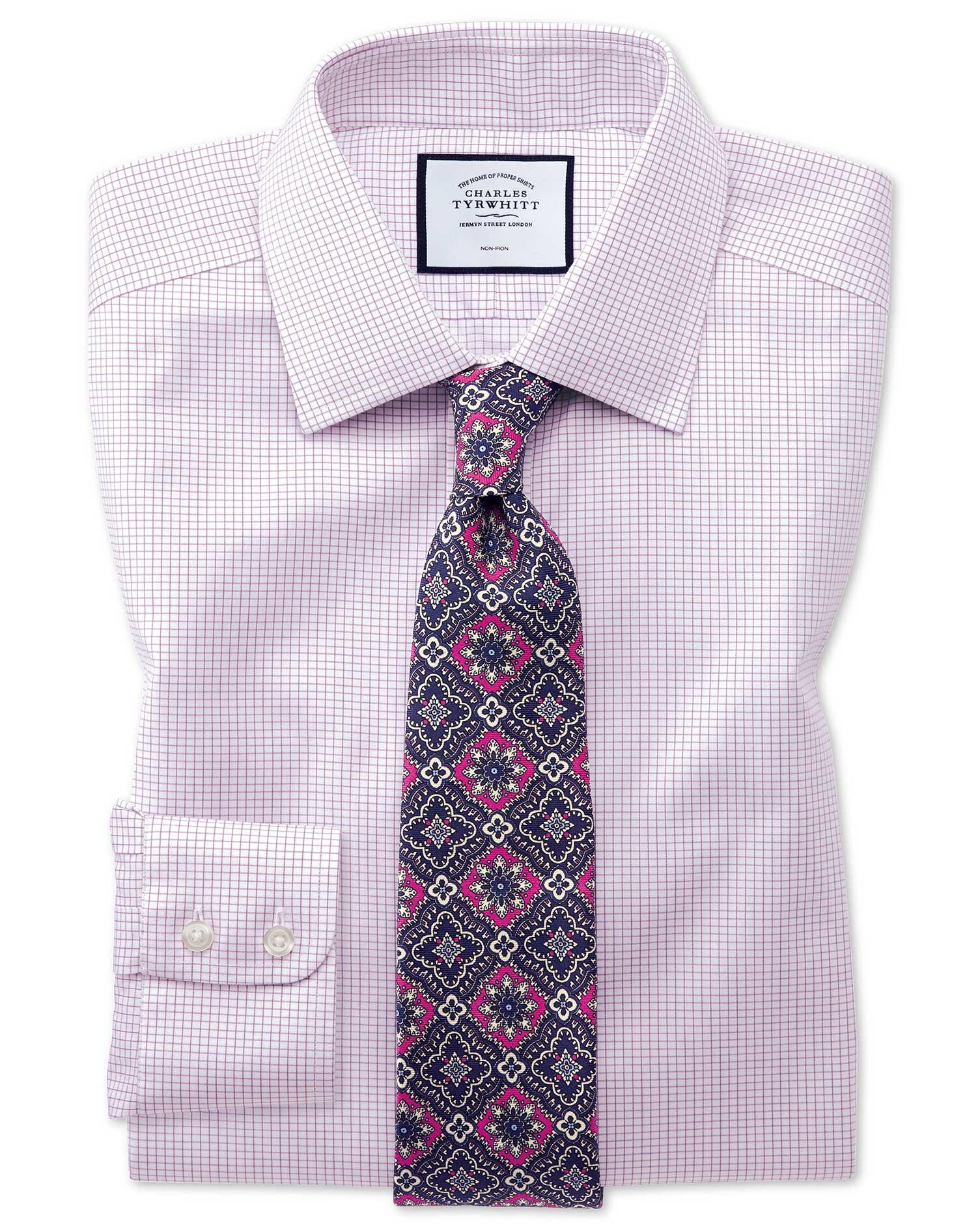 Classic Fit Non-Iron Twill Mini Grid Check Purple Cotton Formal Shirt Single Cuff Size 17/36 by Char
