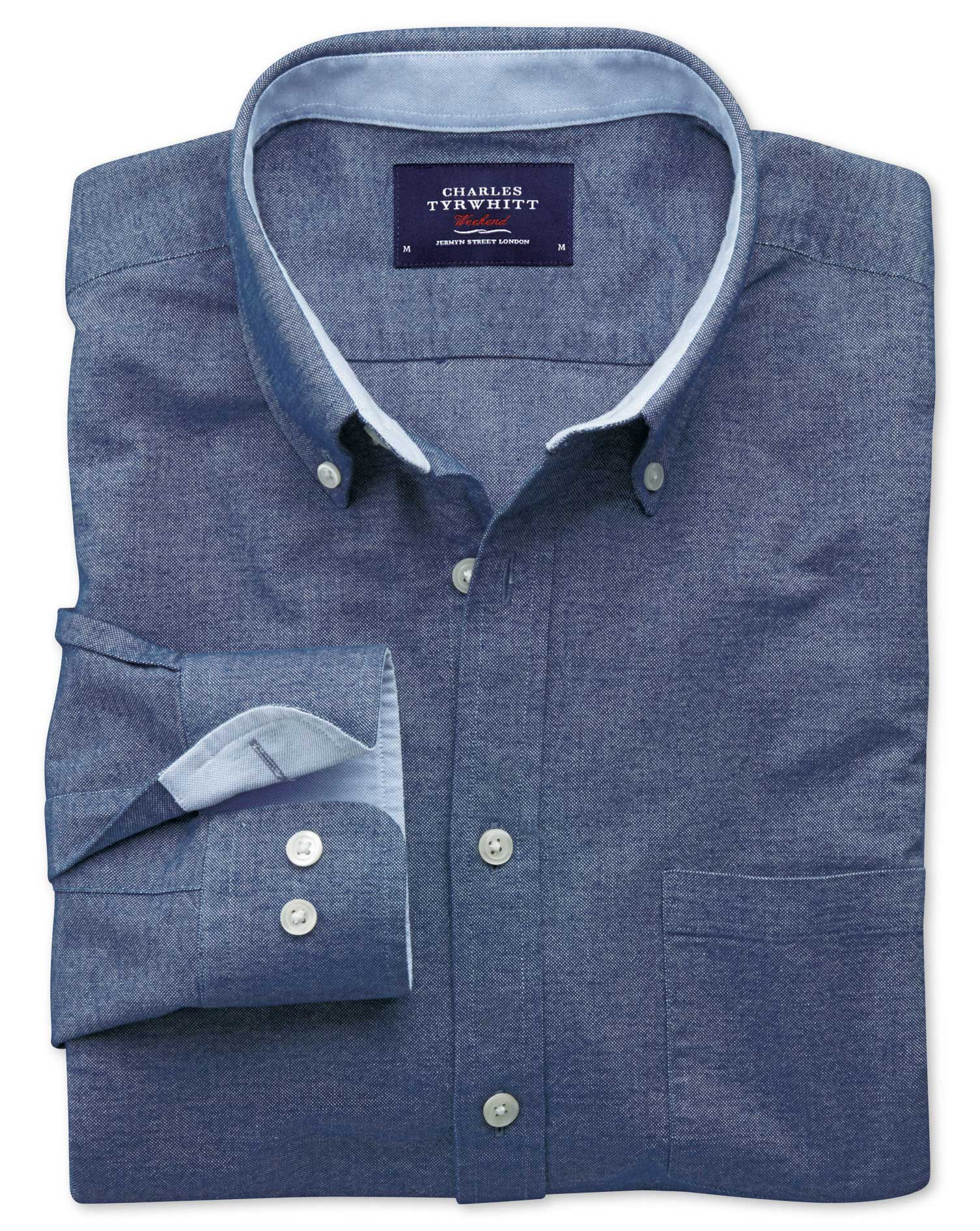Extra Slim Fit Blue Washed Oxford Cotton Shirt Single Cuff Size Large by Charles Tyrwhitt