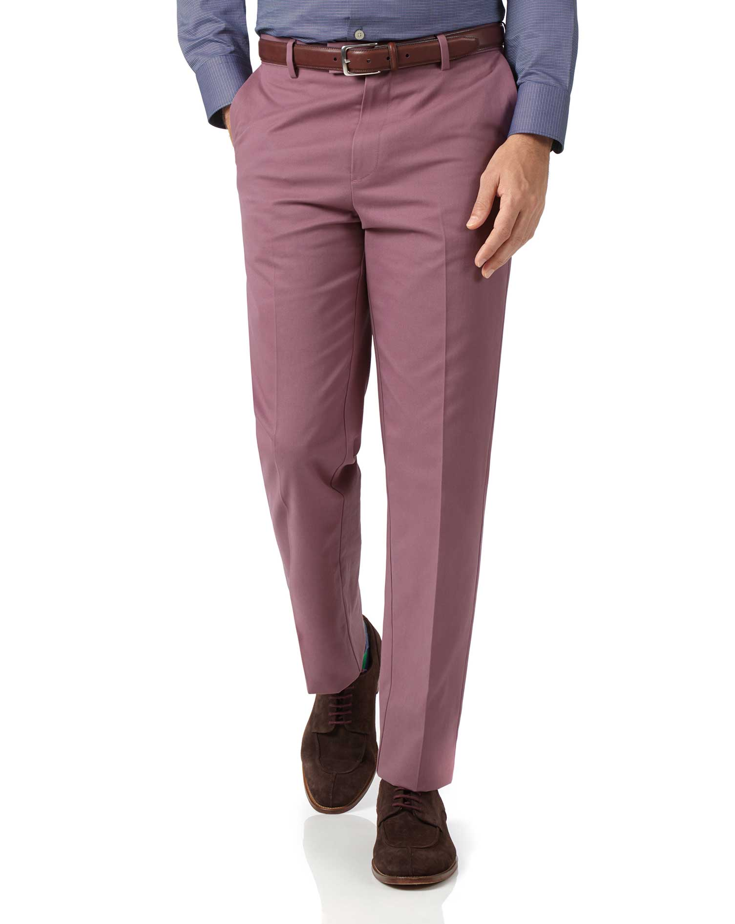 Light Pink Classic Fit Flat Front Non-Iron Cotton Chino Trousers Size W36 L29 by Charles Tyrwhitt