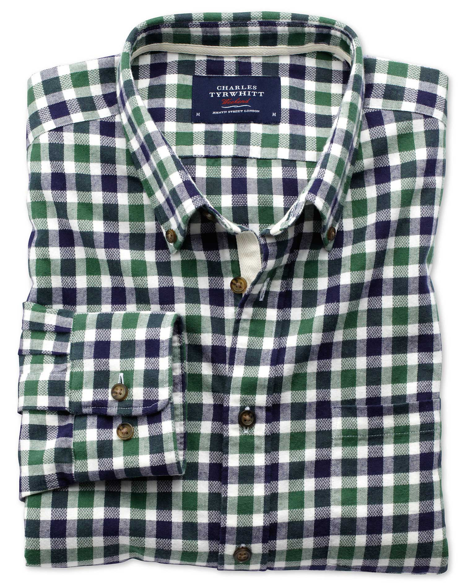 Slim Fit Green and Navy Check Brushed Dobby Cotton Shirt Single Cuff Size XS by Charles Tyrwhitt