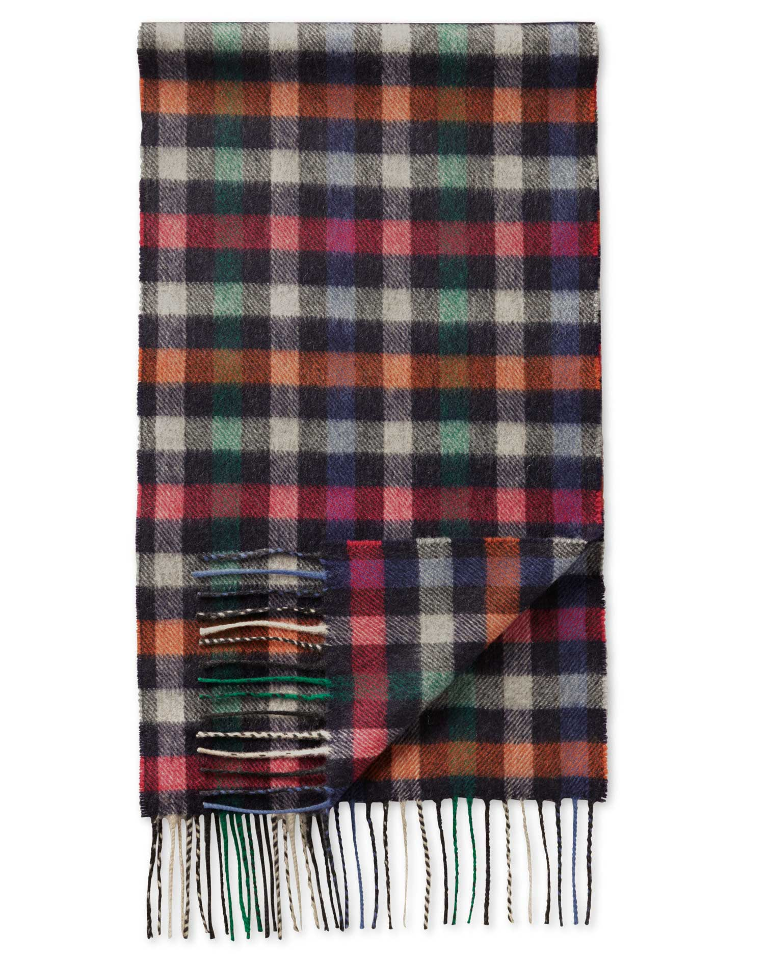 Multi Block Check Cashmere and Merino Scarf Size OSFA by Charles Tyrwhitt