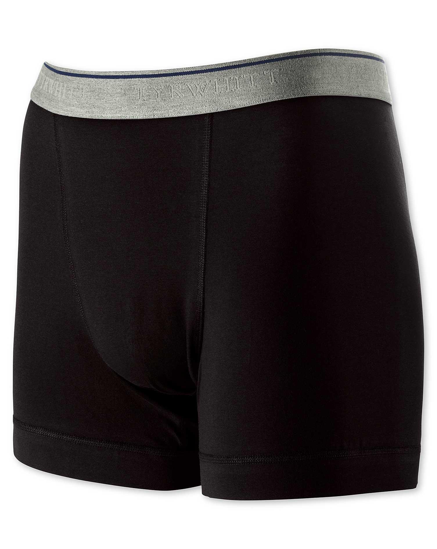 Black Cotton Stretch Jersey Trunks Size XL by Charles Tyrwhitt