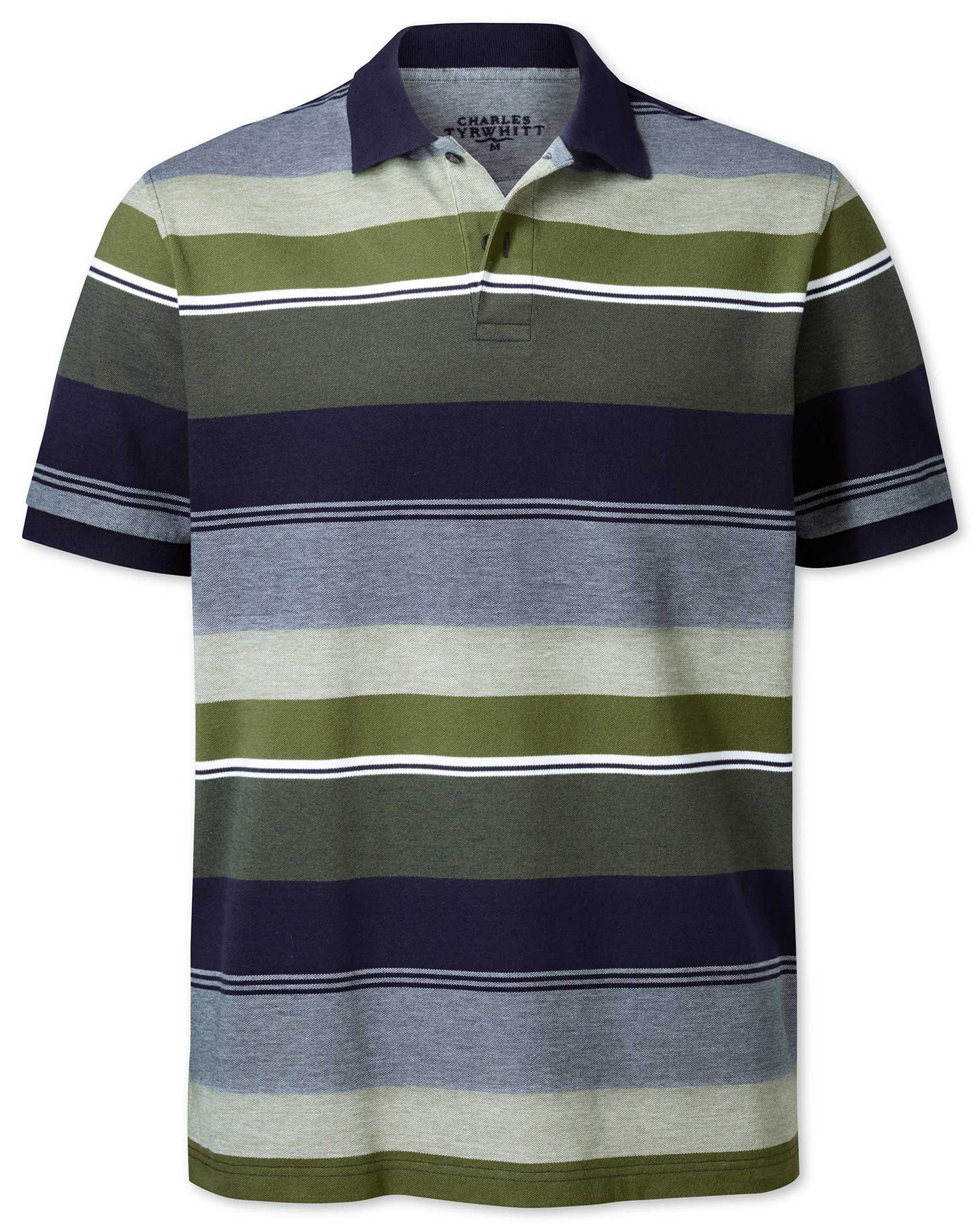 Olive Multi Stripe Oxford Pique Cotton Polo Size Small by Charles Tyrwhitt
