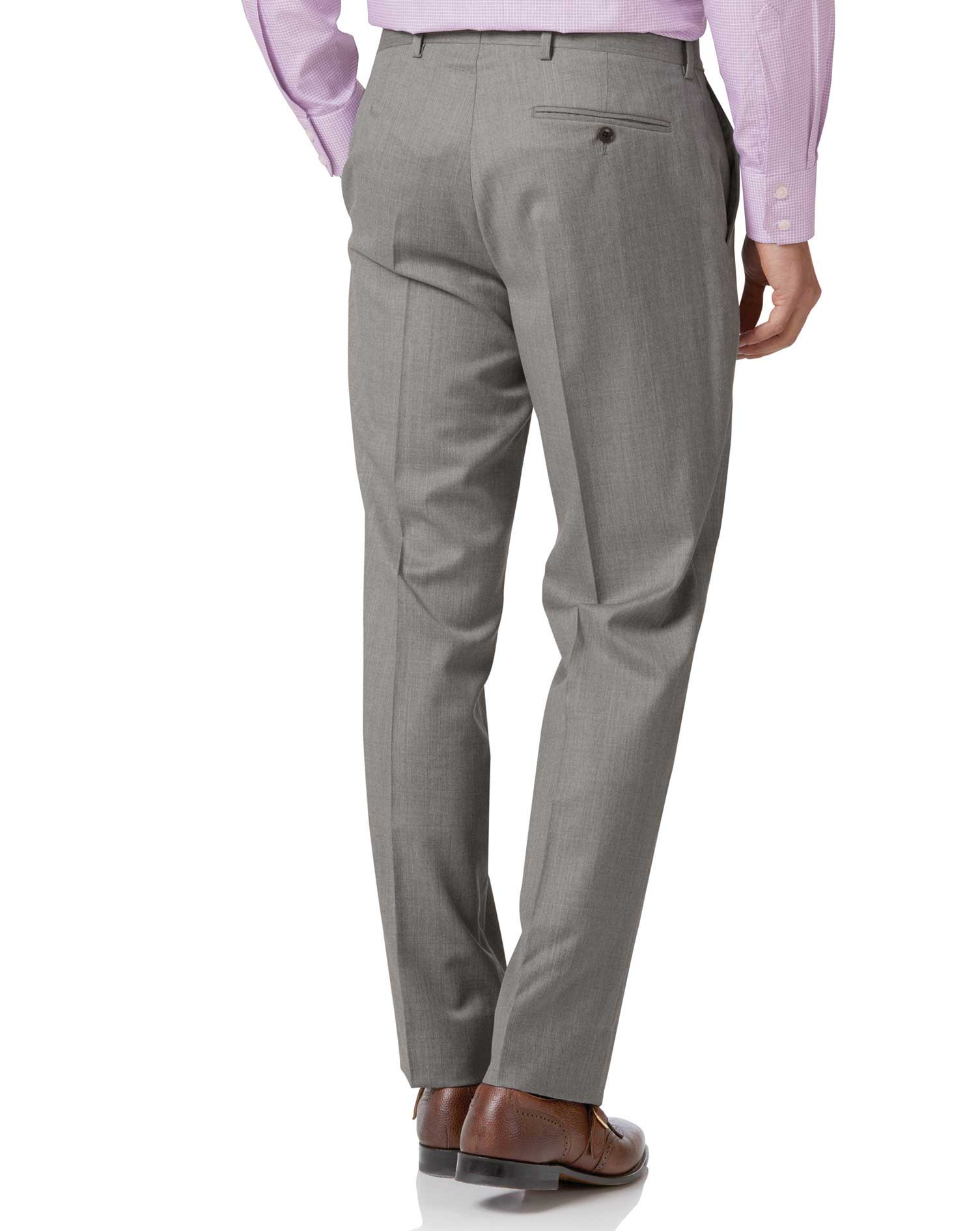 Silver classic fit Italian suit pants