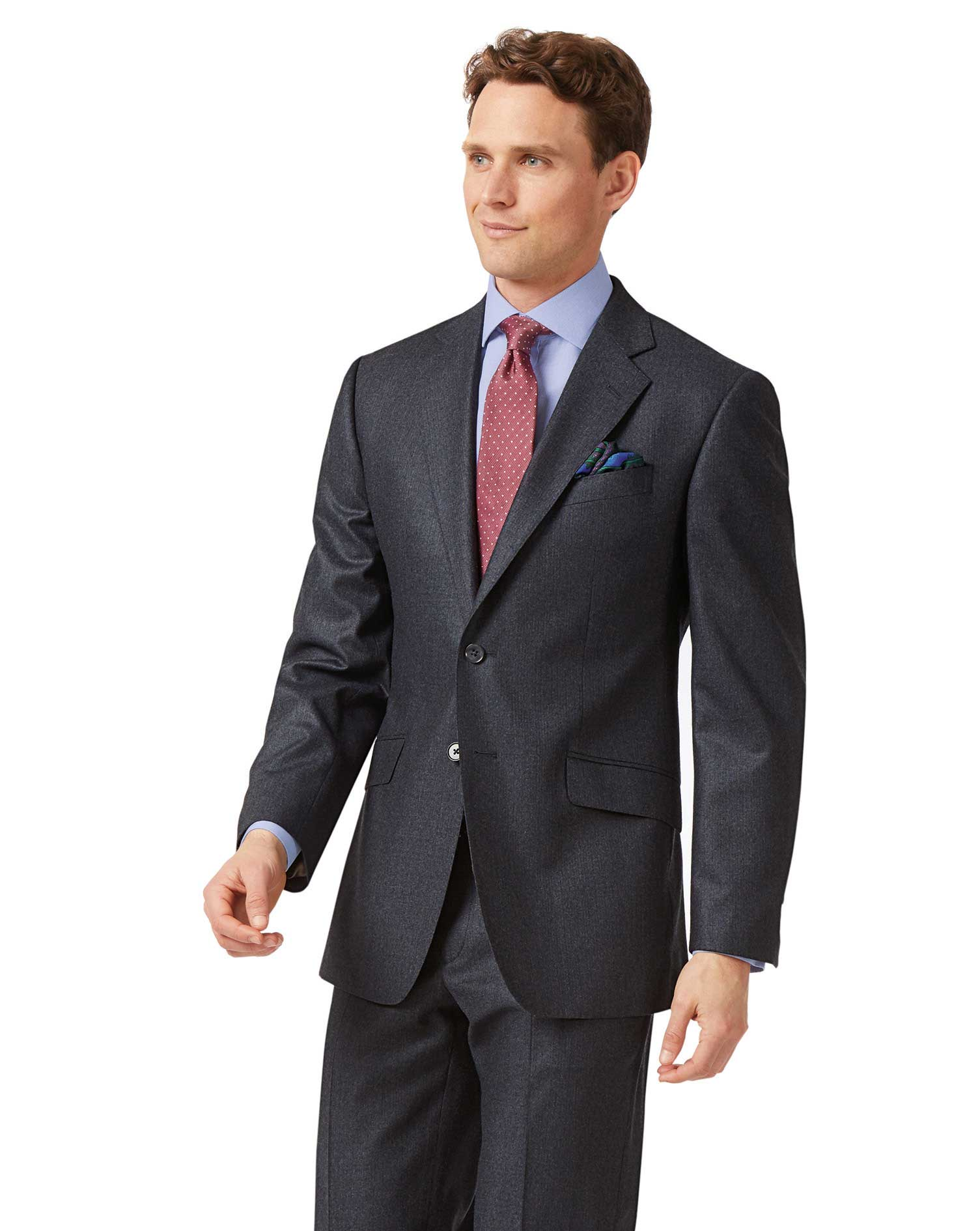Charcoal and Blue Classic Fit Stripe Flannel Suit Trousers Size W32 L38 by Charles Tyrwhitt