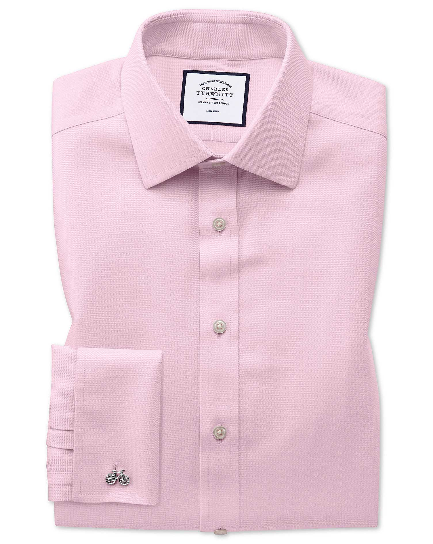 Slim Fit Non-Iron Pink Arrow Weave Cotton Formal Shirt Single Cuff Size 16.5/34 by Charles Tyrwhitt