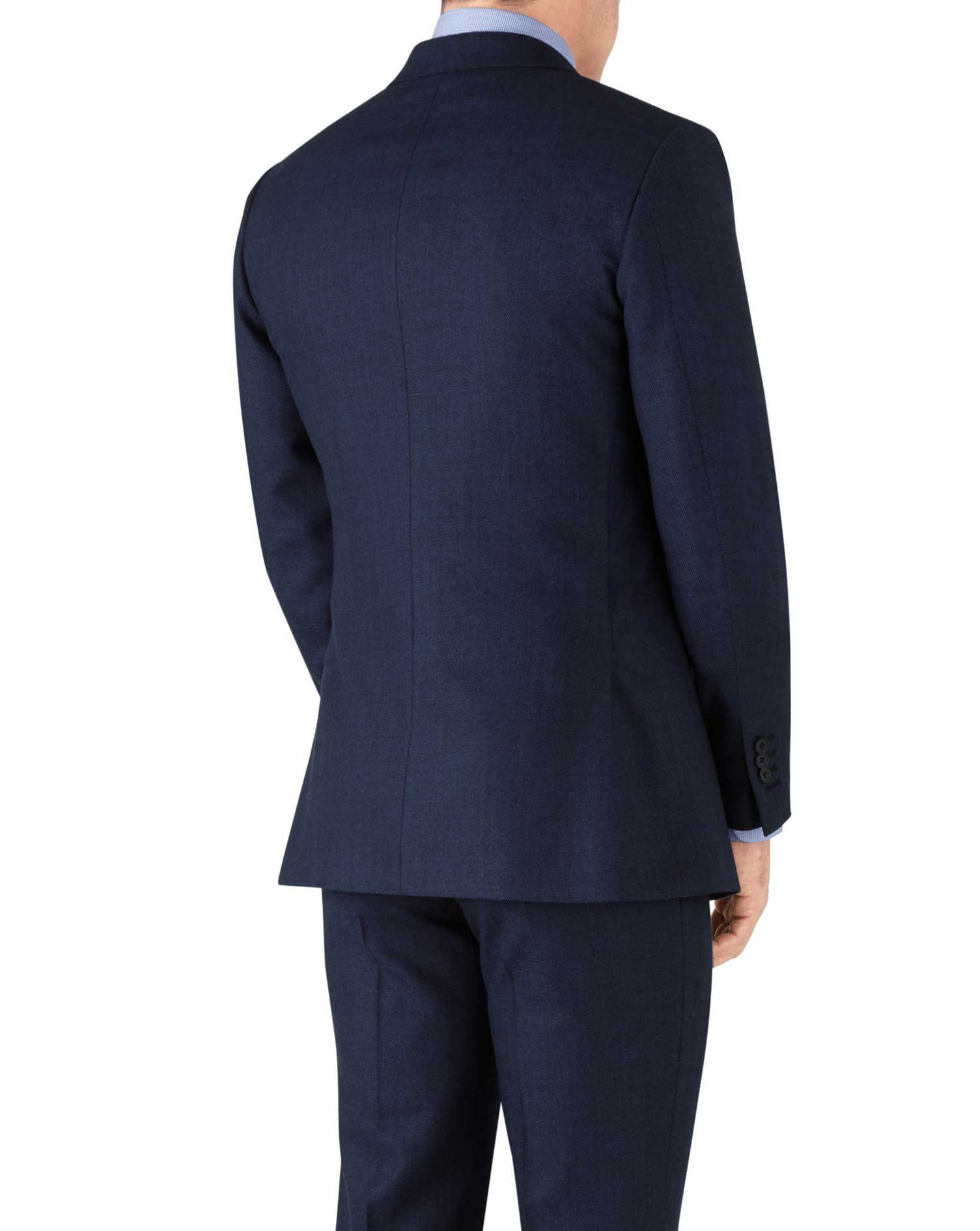 Royal blue slim fit flannel business suit jacket
