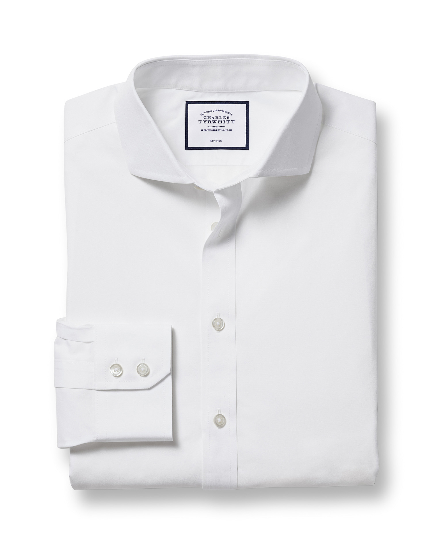 Classic Fit Cutaway Non-Iron Poplin White Cotton Formal Shirt Single Cuff Size 17/38 by Charles Tyrw