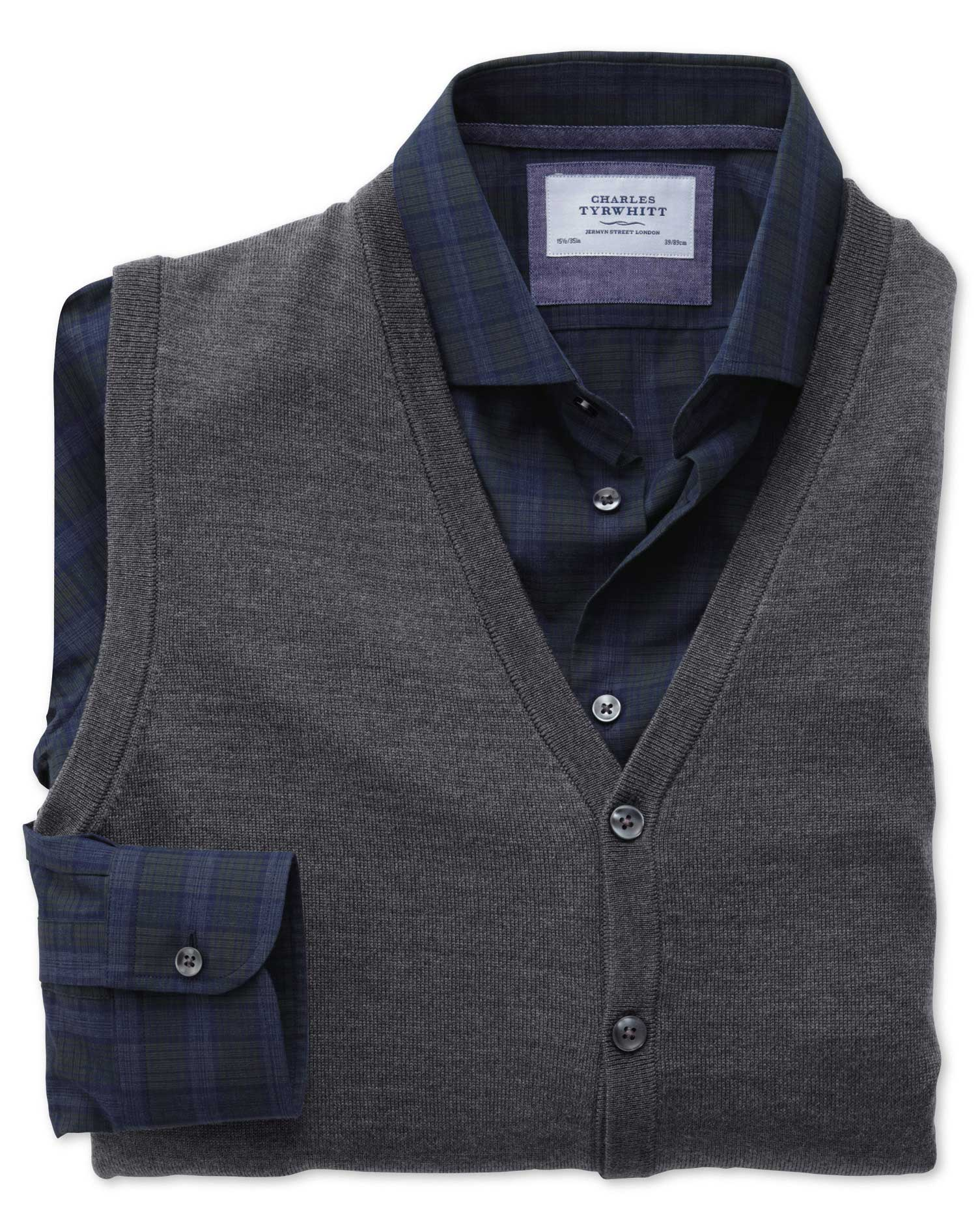 Charcoal Merino Wool Waistcoat Size Medium by Charles Tyrwhitt