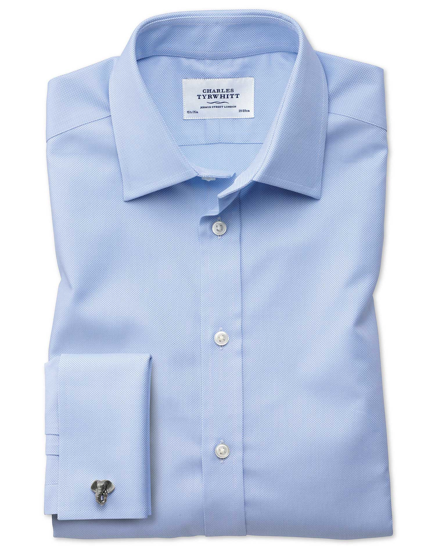 Classic Fit Egyptian Cotton Royal Oxford Sky Blue Formal Shirt Double Cuff Size 17.5/34 by Charles T