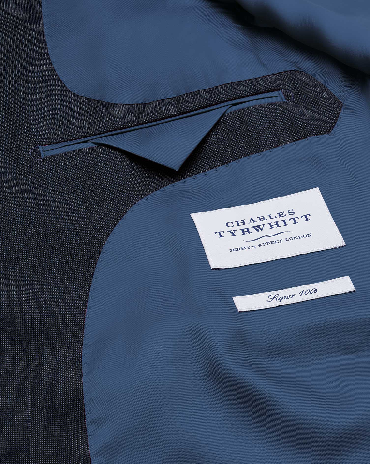 Navy classic fit end-on-end business suit jacket