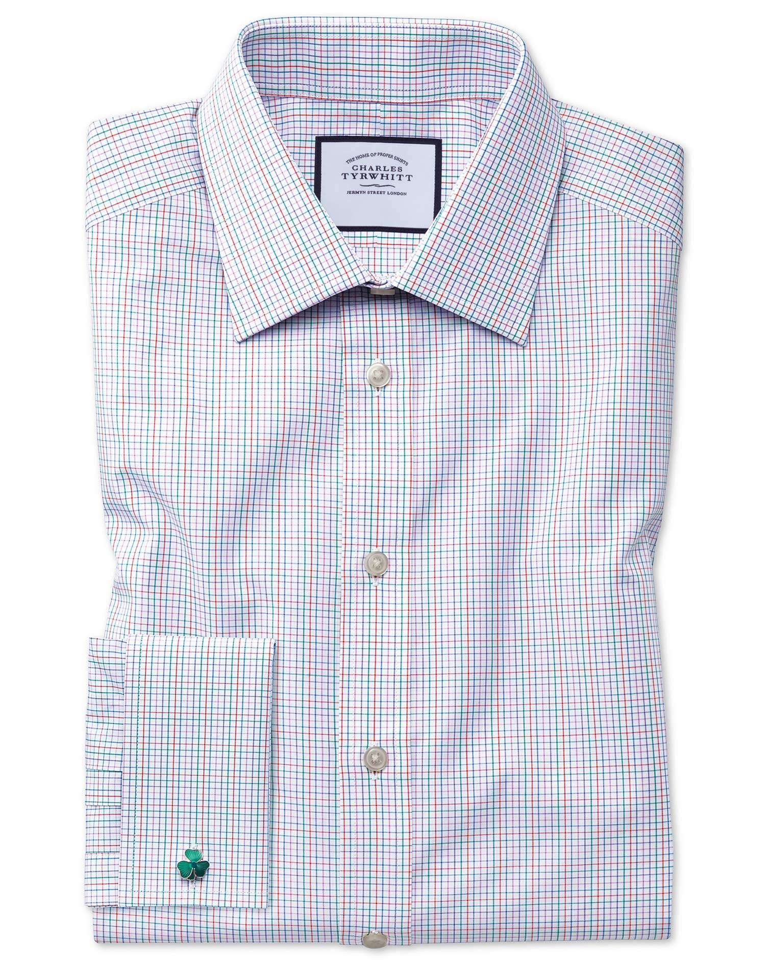 Classic Fit Pink Multi Check Egyptian Cotton Formal Shirt Double Cuff Size 16.5/35 by Charles Tyrwhi