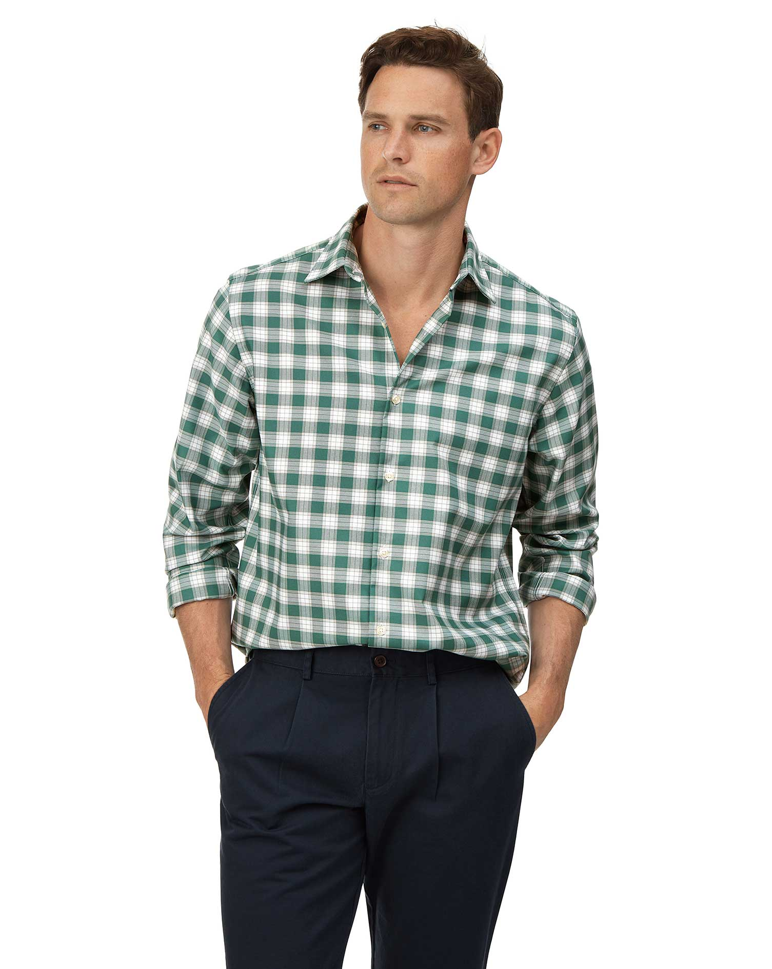 Classic Fit Soft Washed Non-Iron Stretch Oxford Green and White Check Cotton Shirt Single Cuff Size