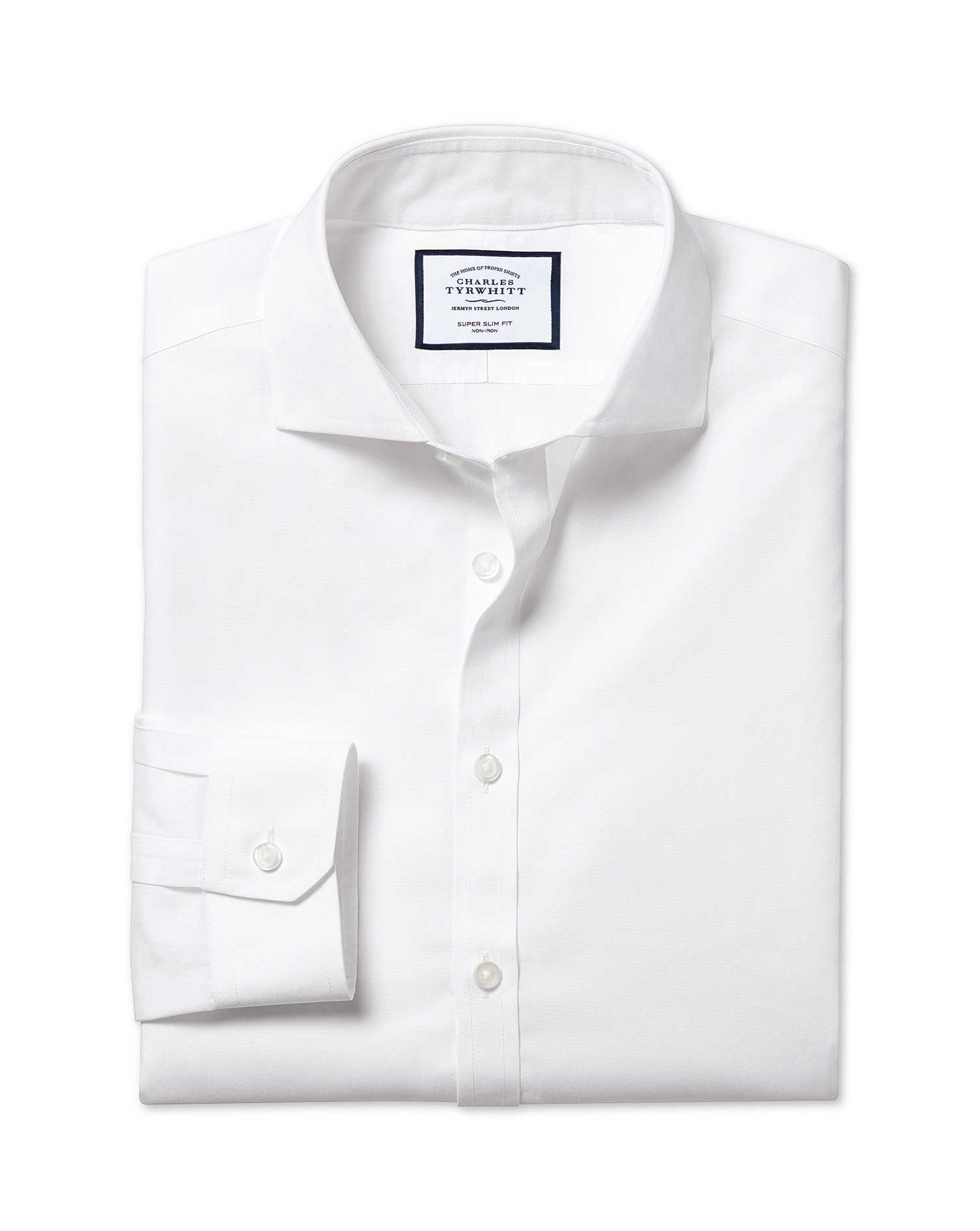 Super Slim Fit Cutaway Non-Iron Poplin White Cotton Formal Shirt Double Cuff Size 15.5/36 by Charles