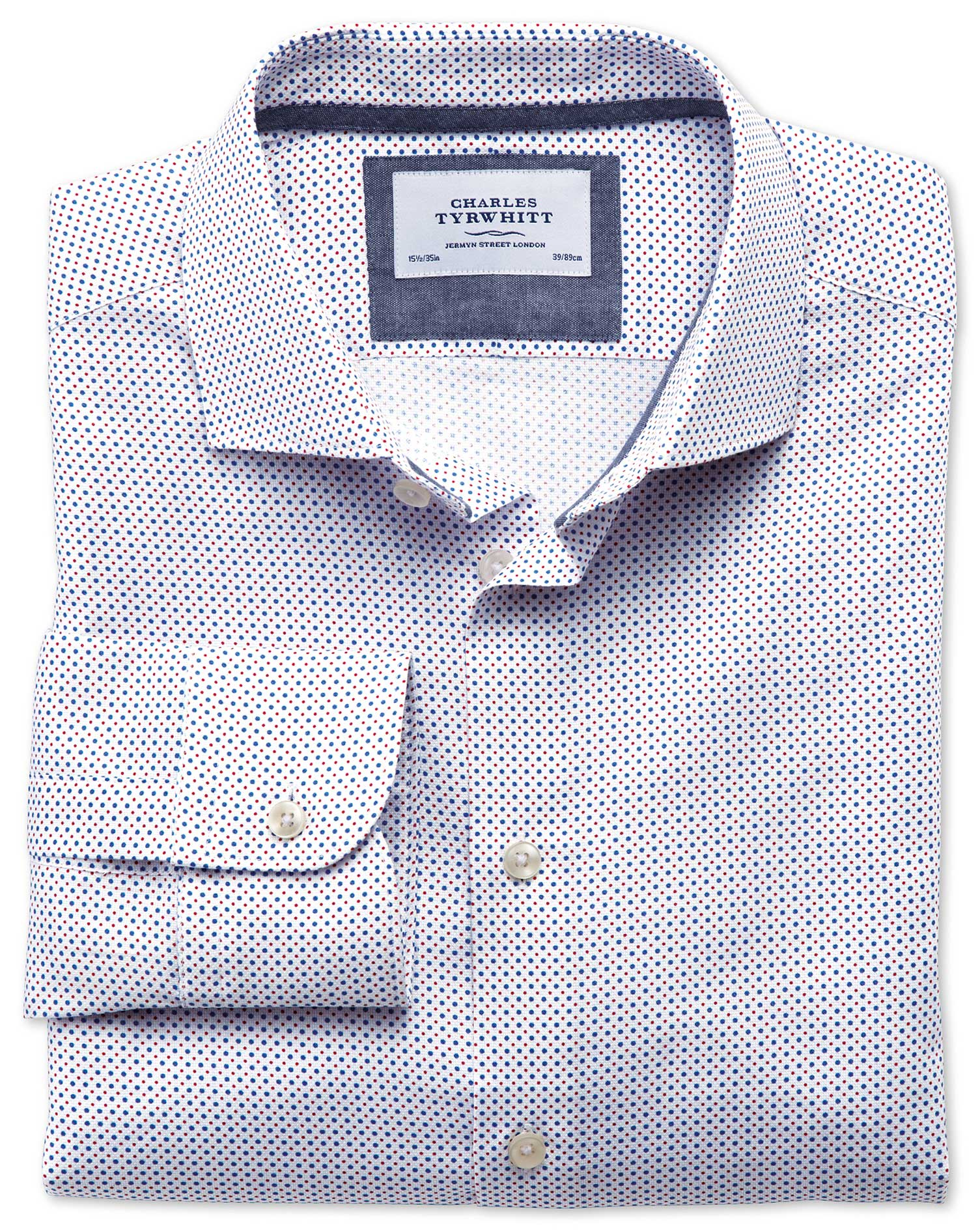Classic Fit Semi-Cutaway Collar Business Casual Blue and Red Spot Print Egyptian Cotton Formal Shirt