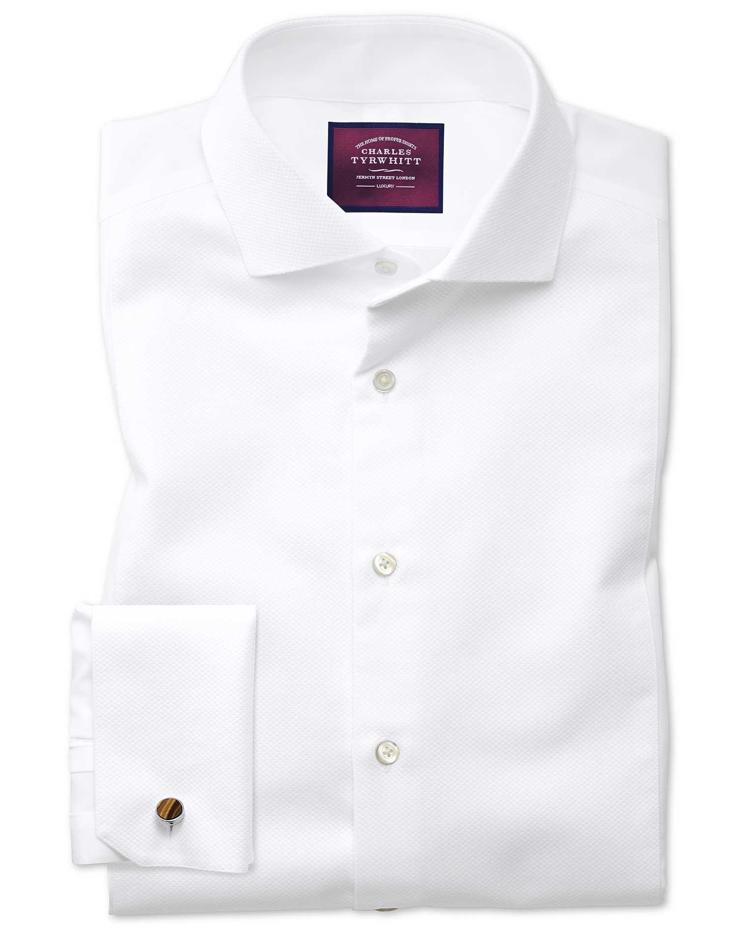 Slim Fit Cutaway Non-Iron Luxury Marcella Bib Front White Cotton Formal Shirt Double Cuff Size 15.5/