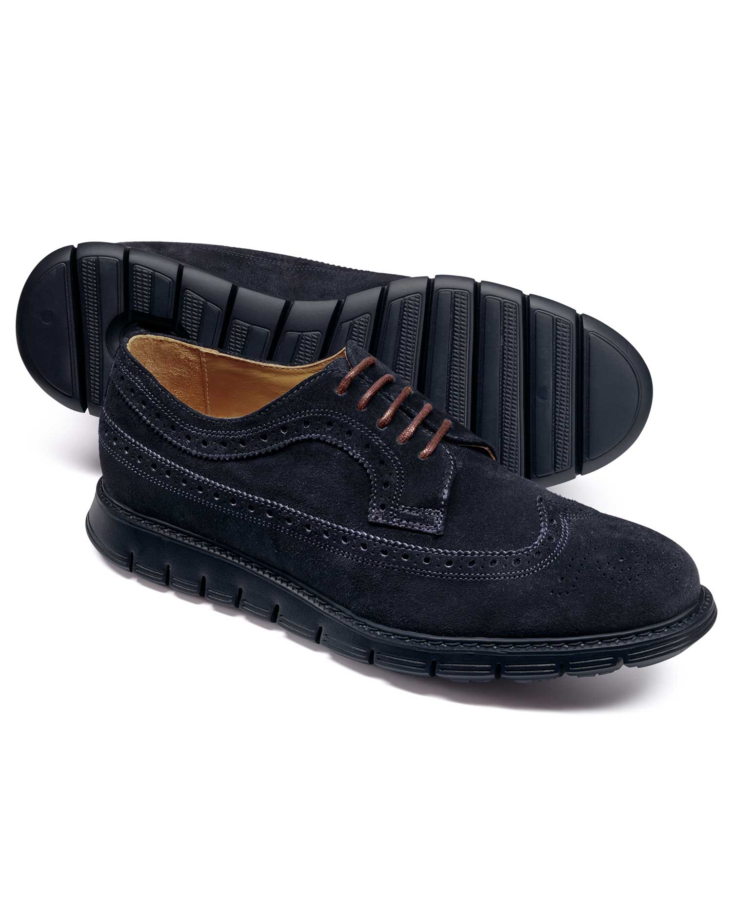 Navy Suede Extra Lightweight Derby Brogue Shoes Size 7 R by Charles Tyrwhitt