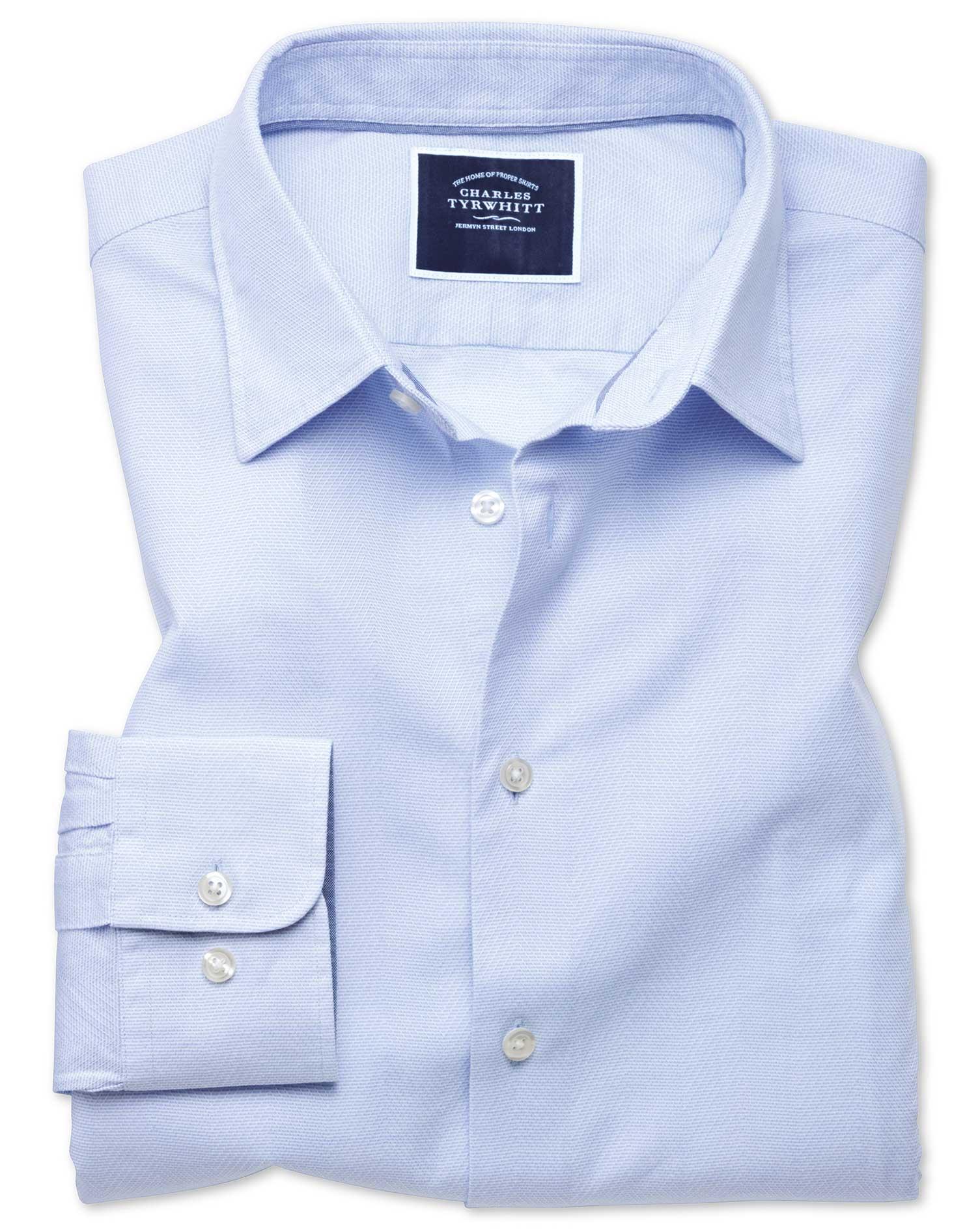 Slim Fit Sky Blue Soft Texture Herringbone Cotton Shirt Single Cuff Size XS by Charles Tyrwhitt