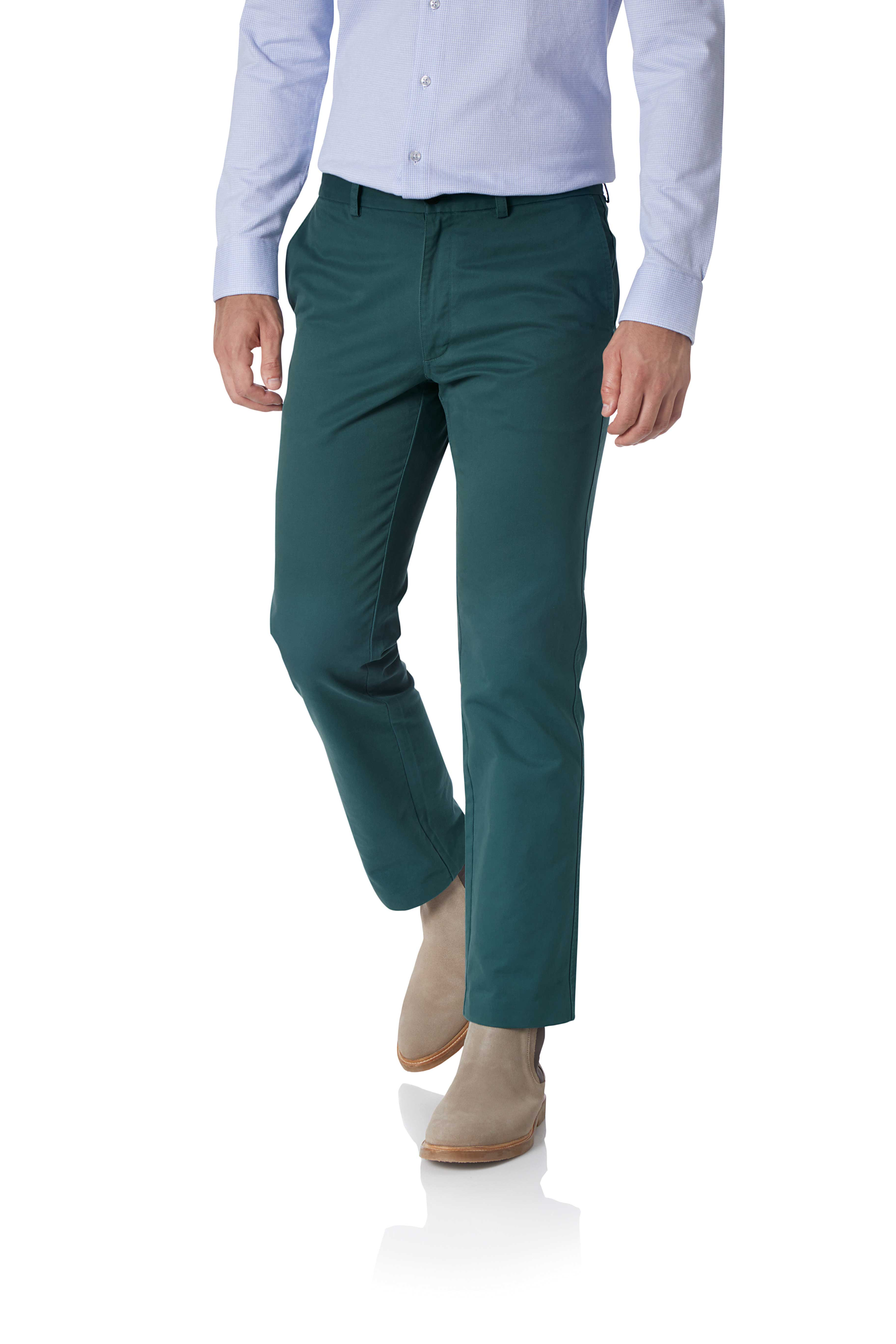 Teal Slim Fit Flat Front Washed Cotton Chino Trousers Size W38 L32 by Charles Tyrwhitt