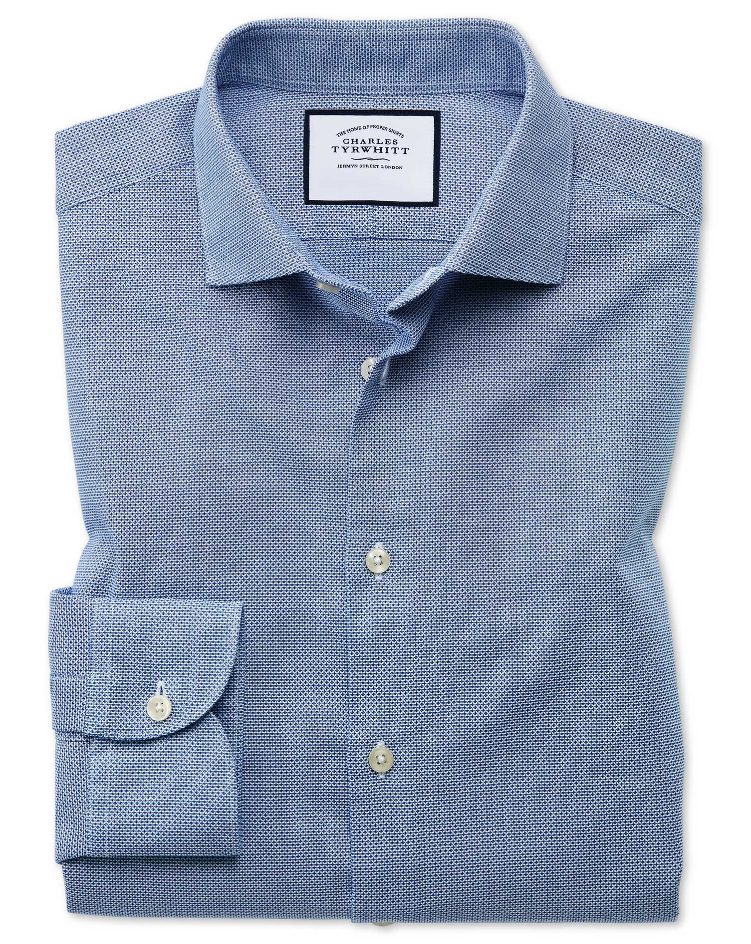 Extra Slim Fit Business Casual Leno Texture Blue Cotton Formal Shirt Single Cuff Size 15.5/32 by Cha