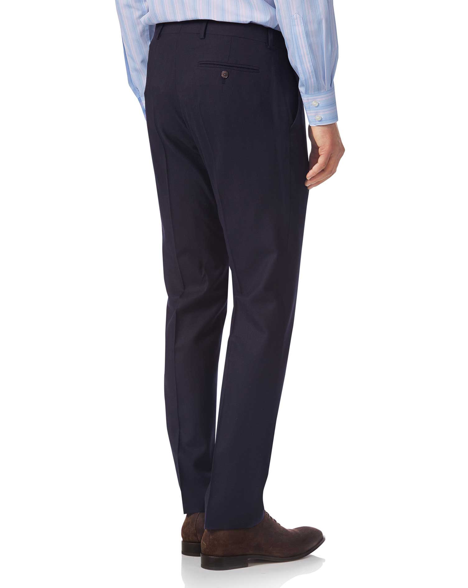 Navy slim fit British luxury suit pants