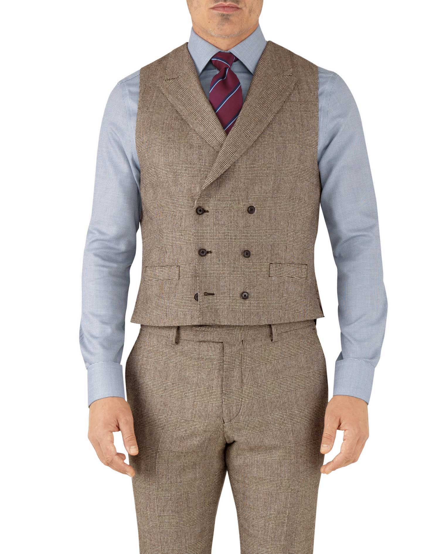 Tan check adjustable fit British serge luxury suit vest