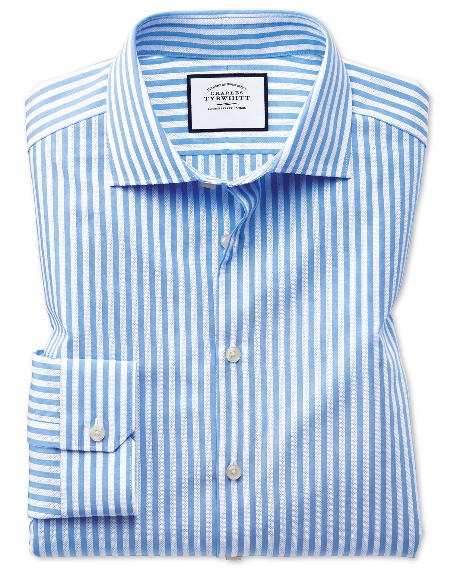Super Slim Fit Business Casual Leno Texture Stripe Sky Blue and White Cotton Formal Shirt Single Cuf