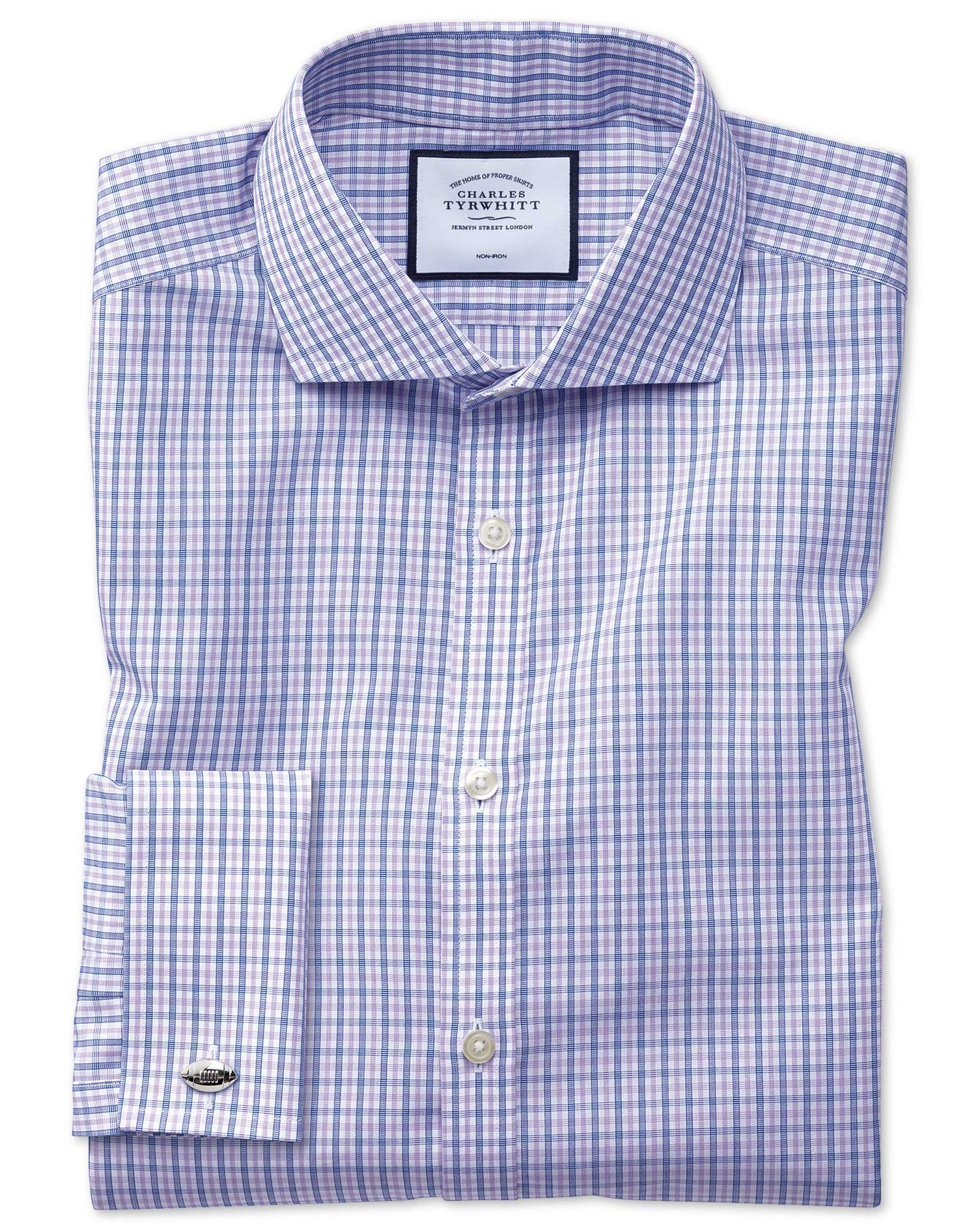 Extra Slim Fit Non-Iron Blue and Purple Check Cotton Formal Shirt Single Cuff Size 15/33 by Charles