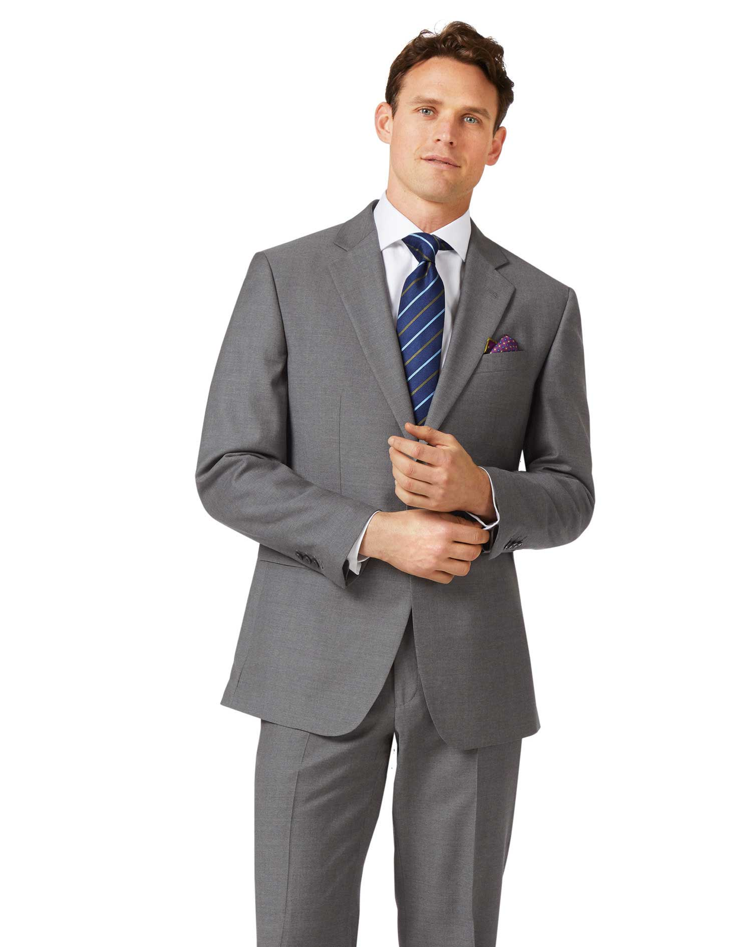 Grey Classic Fit Twill Business Suit Wool Jacket Size 48 Regular by Charles Tyrwhitt