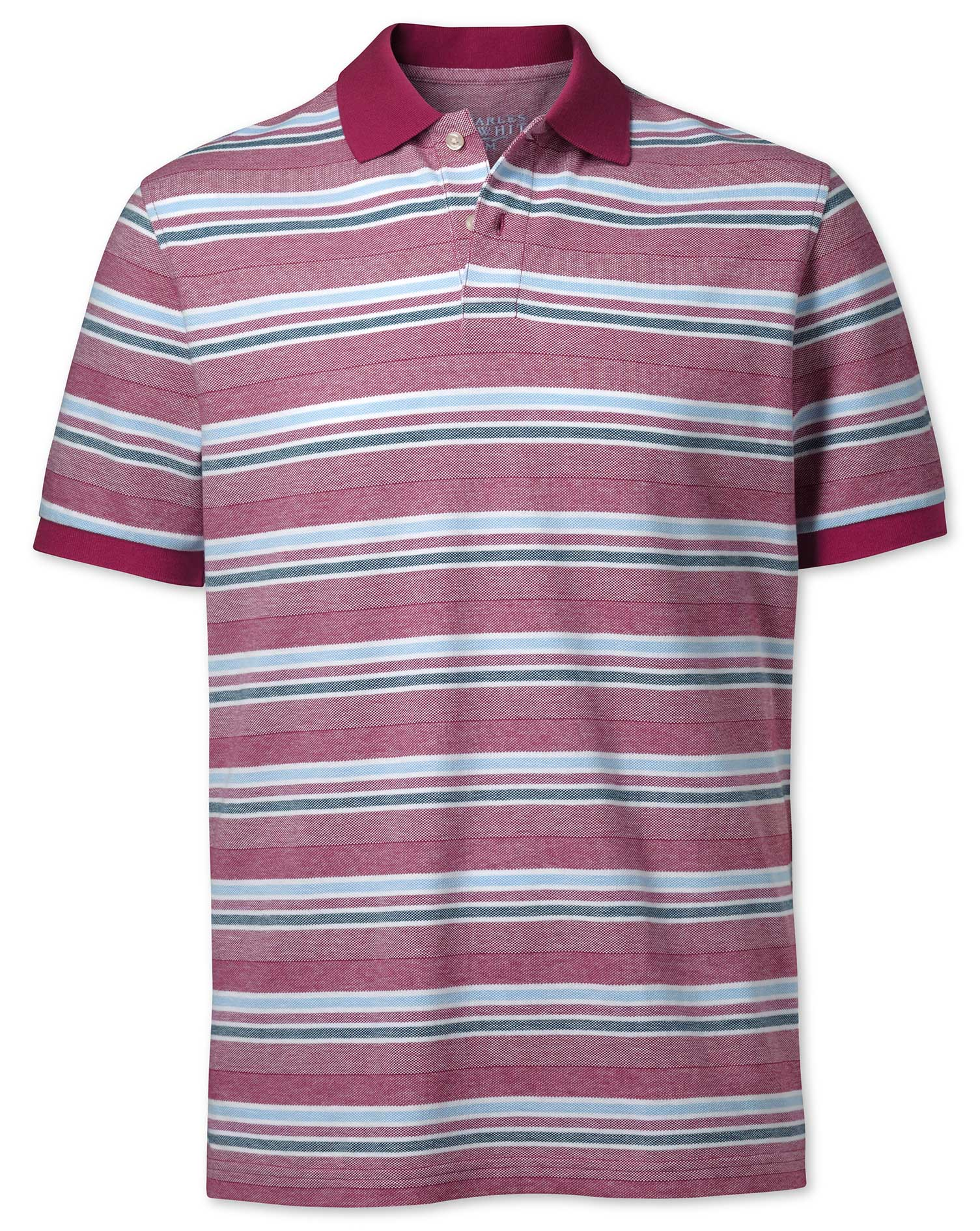 Image of Charles Tyrwhitt Berry Textured Striped Polo Size Large by Charles Tyrwhitt
