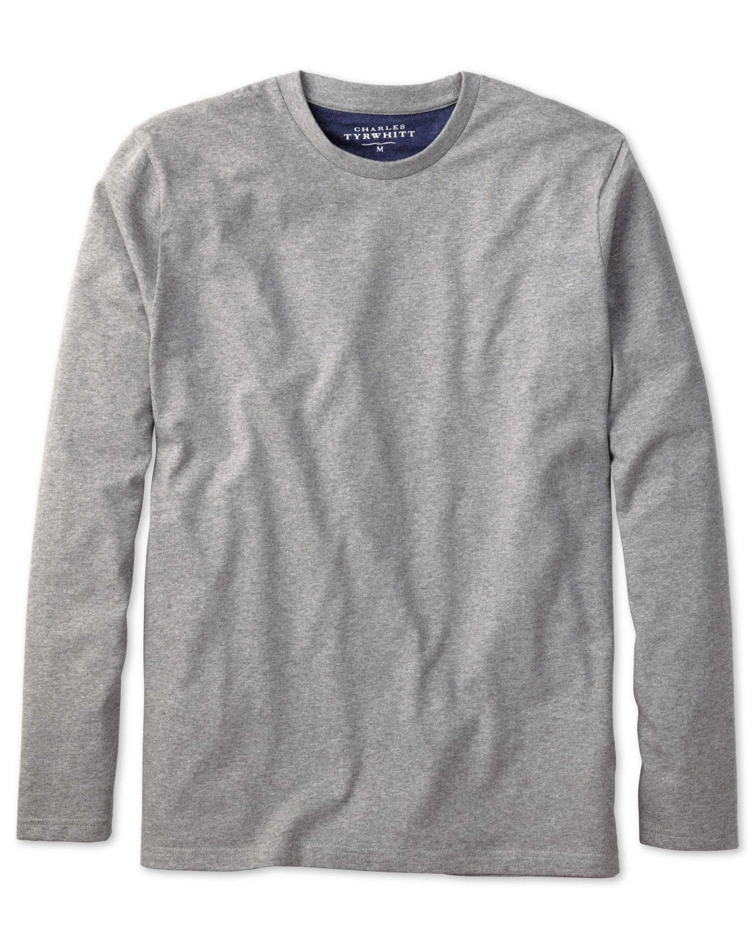 Grey cotton long sleeve t-shirt | Charles Tyrwhitt