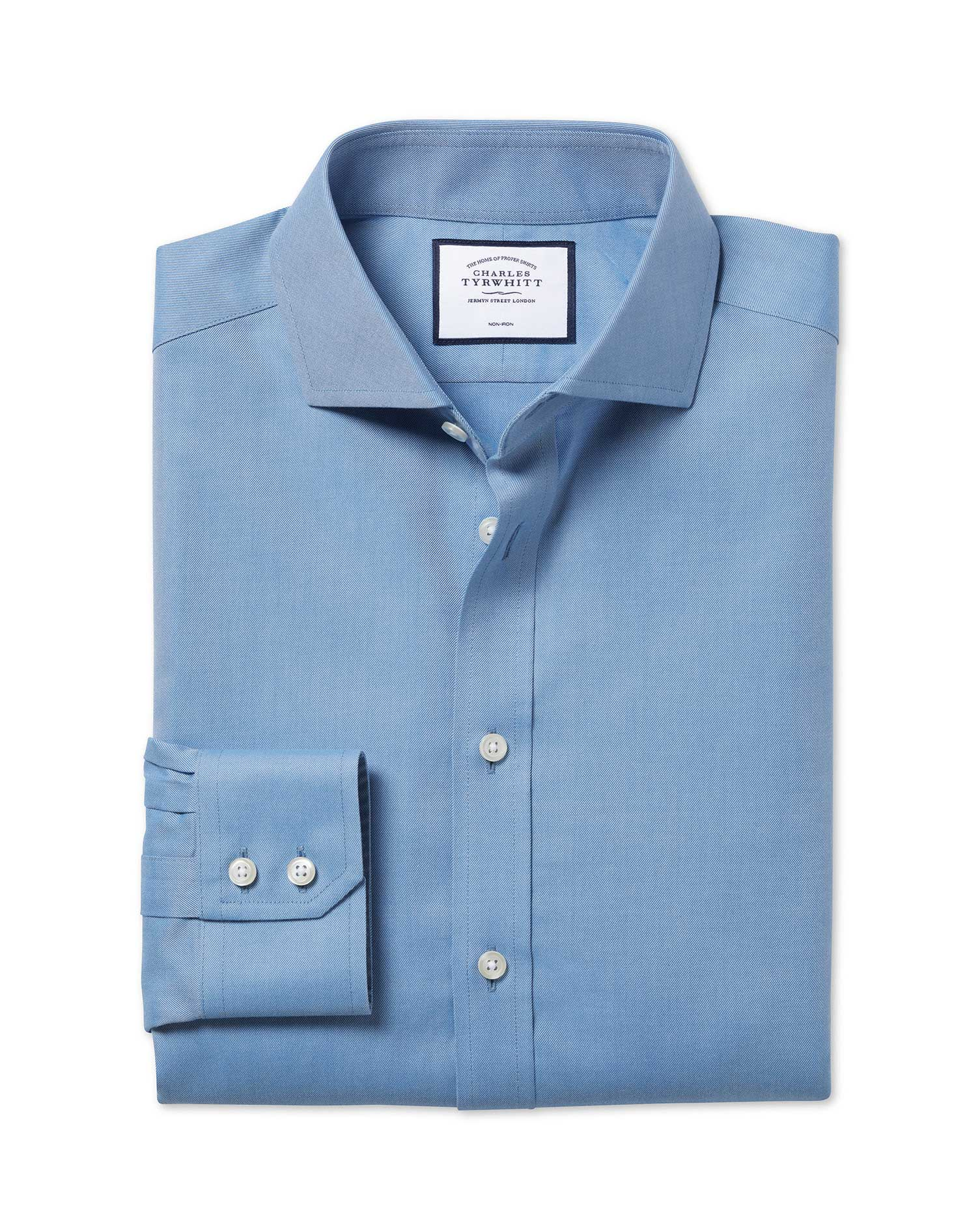 Slim Fit Non-Iron Cutaway Collar Twill Blue Cotton Formal Shirt Single Cuff Size 15.5/37 by Charles