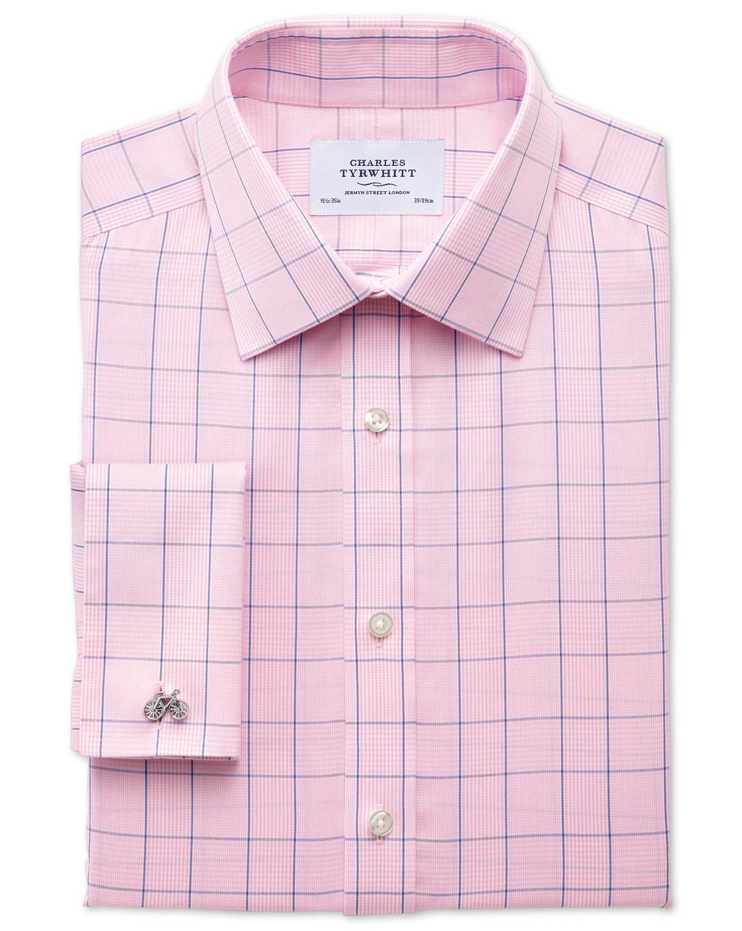 Extra Slim Fit Non-Iron Prince Of Wales Check Pink and Blue Cotton Formal Shirt Single Cuff Size 15.