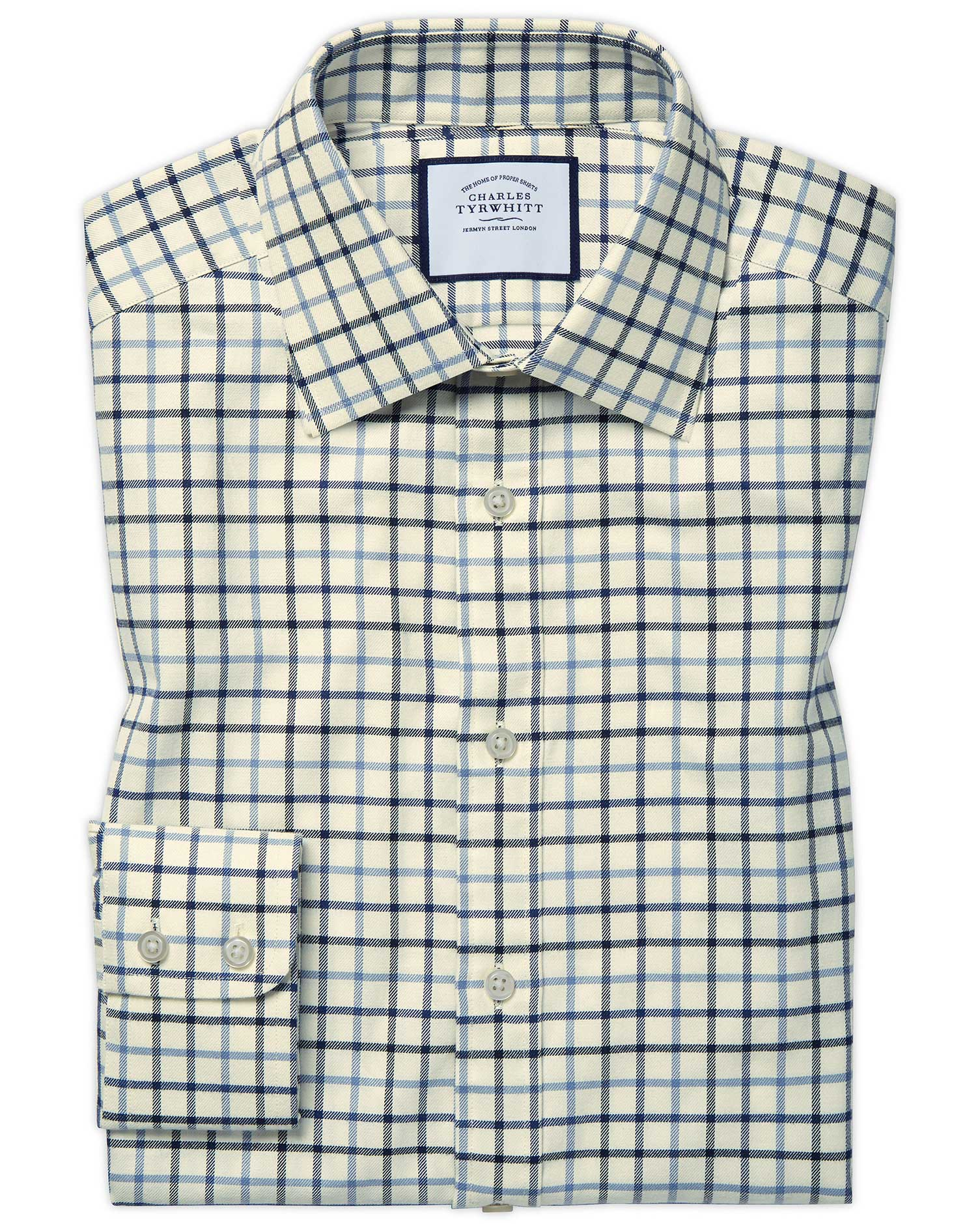 Cotton Classic Fit Country Check Blue Shirt