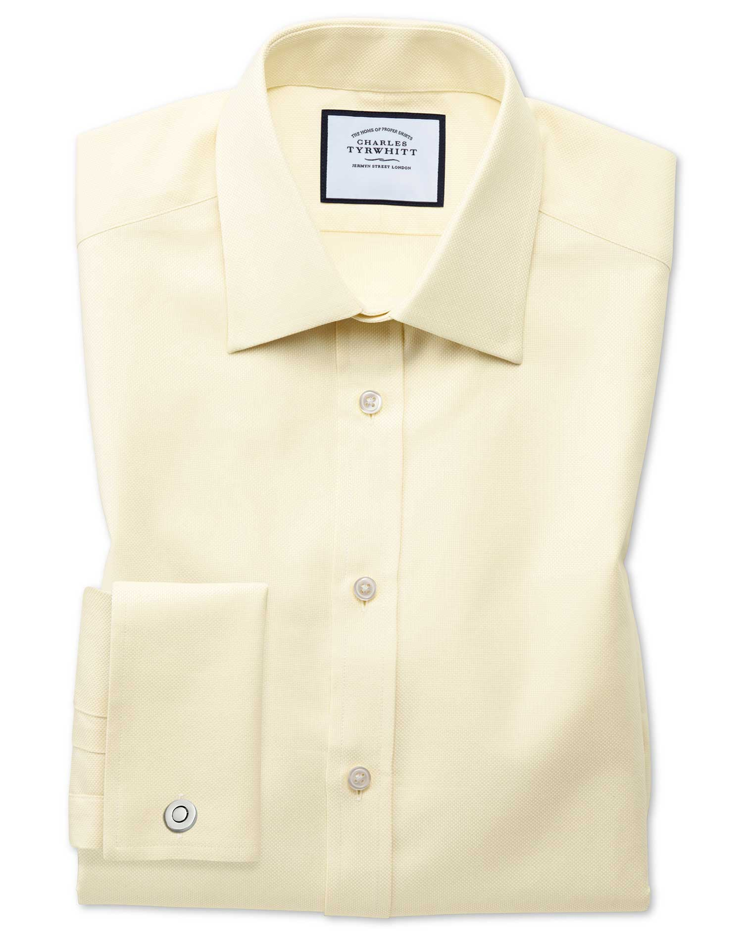 Classic Fit Egyptian Cotton Royal Oxford Yellow Formal Shirt Single Cuff Size 17.5/34 by Charles Tyr