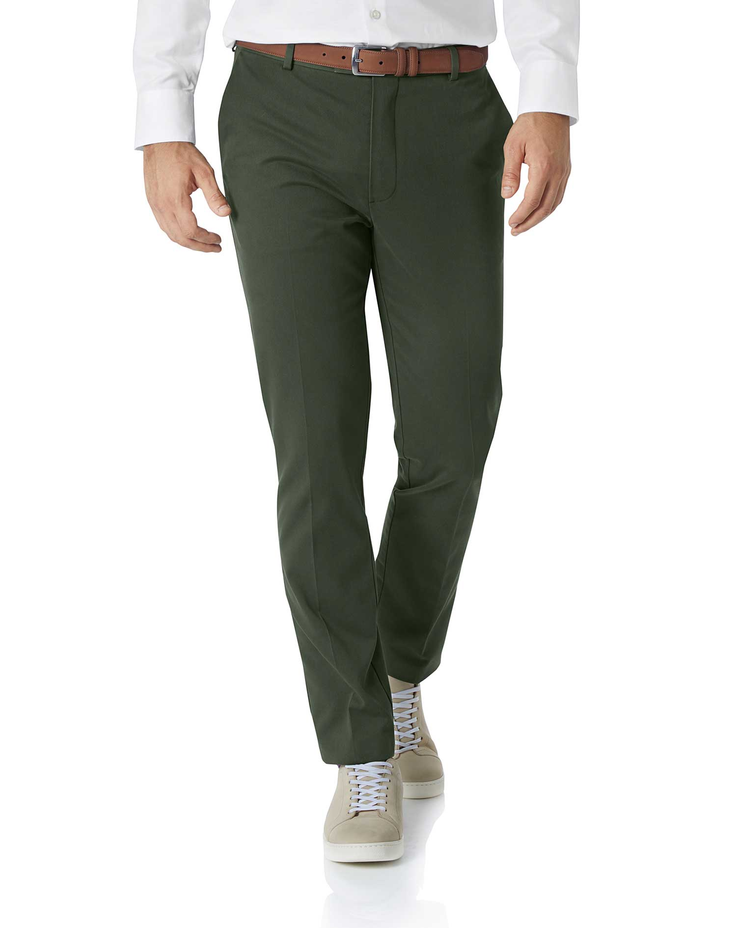Dark Green Extra Slim Fit Flat Front Non-Iron Cotton Chino Trousers Size W34 L32 by Charles Tyrwhitt