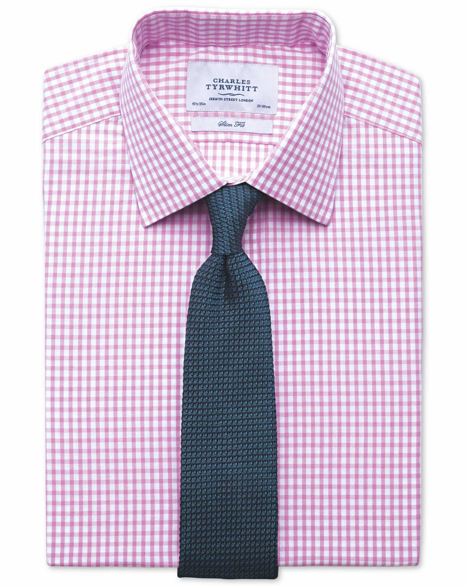 Classic Fit Gingham Pink Cotton Formal Shirt Double Cuff Size 15/35 by Charles Tyrwhitt