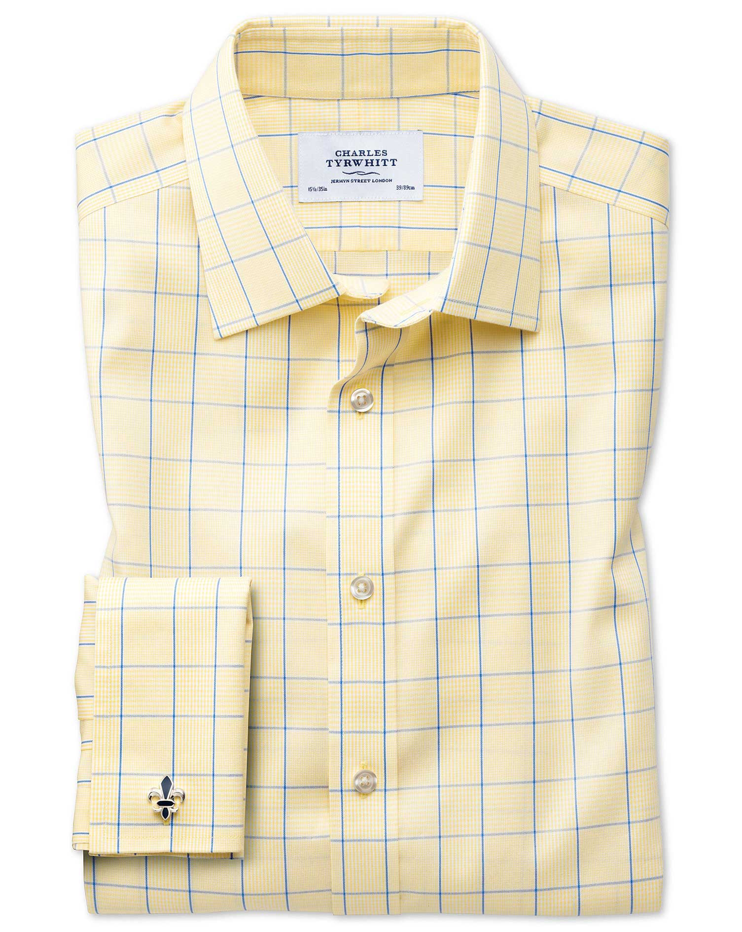 Extra Slim Fit Non-Iron Prince Of Wales Yellow and Royal Blue Cotton Formal Shirt Double Cuff Size 1