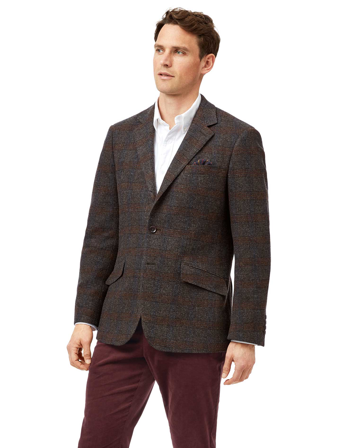 Classic Fit Brown Check Textured Wool Jacket