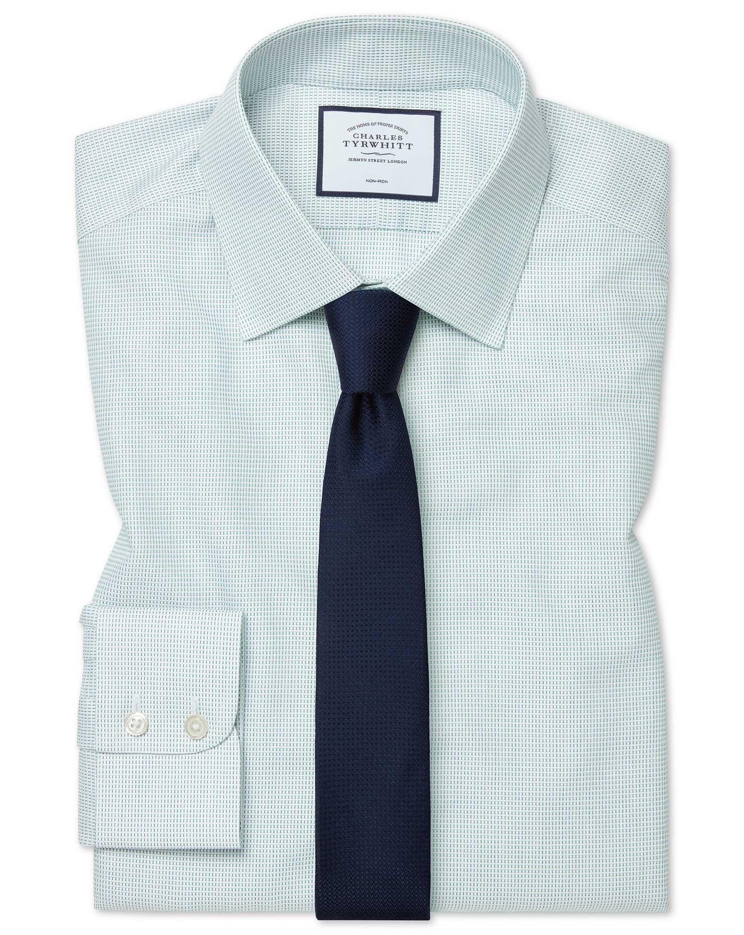 Cotton Extra Slim Fit Non-Iron Dash Weave Green Shirt