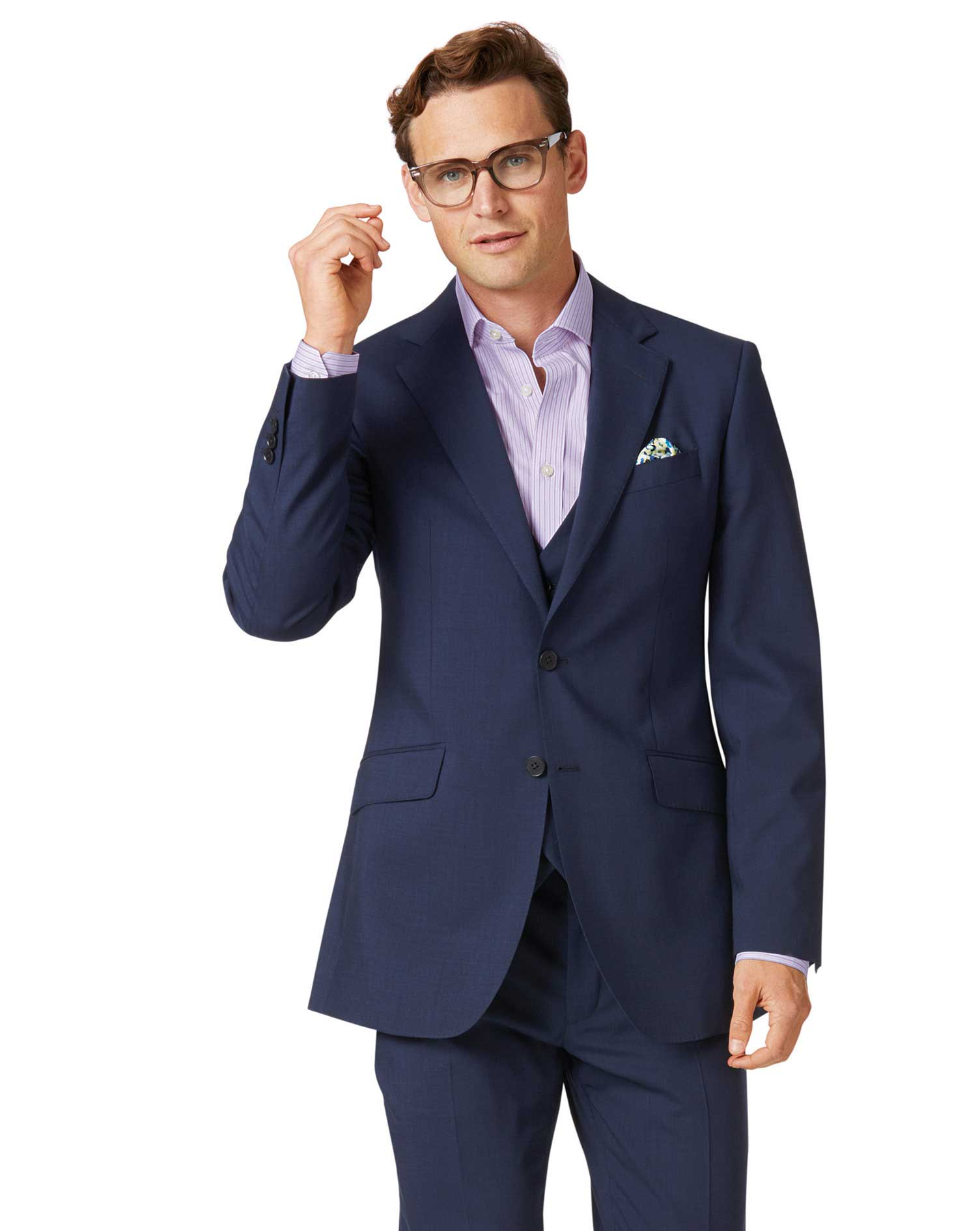 slim fit anzug aus stepweave gewebe in marineblau charles tyrwhitt. Black Bedroom Furniture Sets. Home Design Ideas