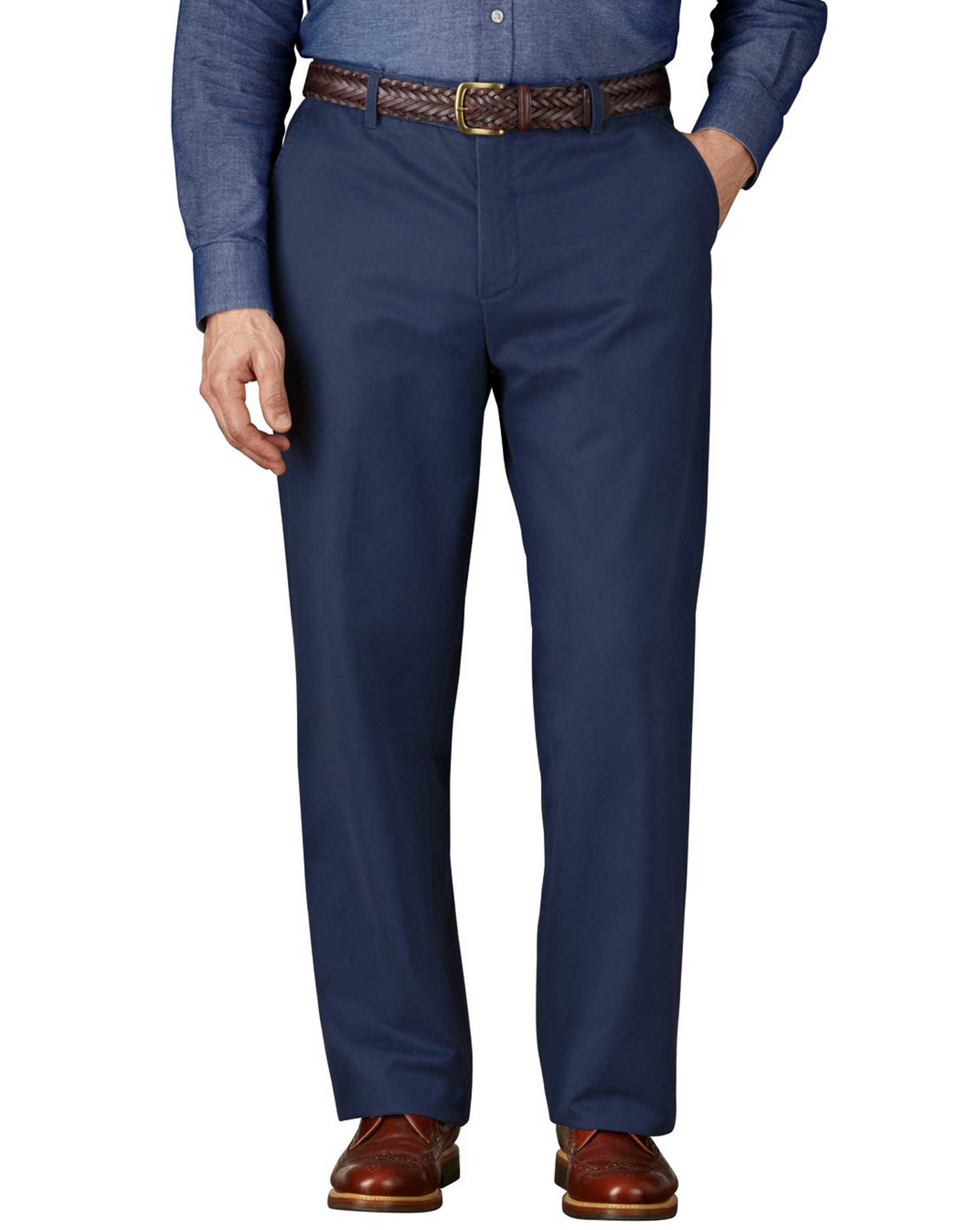Blue Classic Fit Flat Front Weekend Cotton Chino Trousers Size W34 L29 by Charles Tyrwhitt