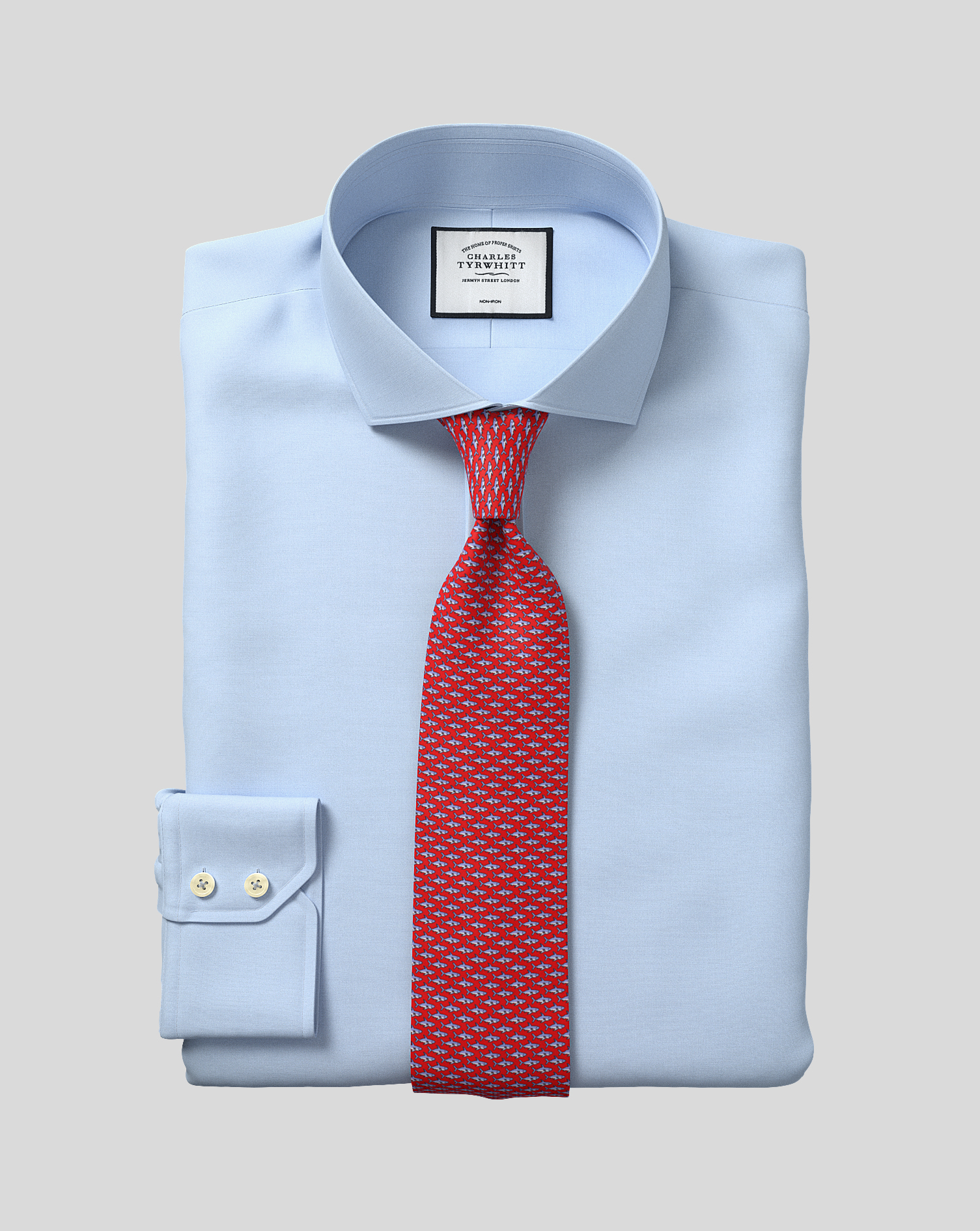 Slim Fit Non-Iron Cutaway Sky Blue Tyrwhitt Cool Cotton Formal Shirt Single Cuff Size 16/32 by Charl