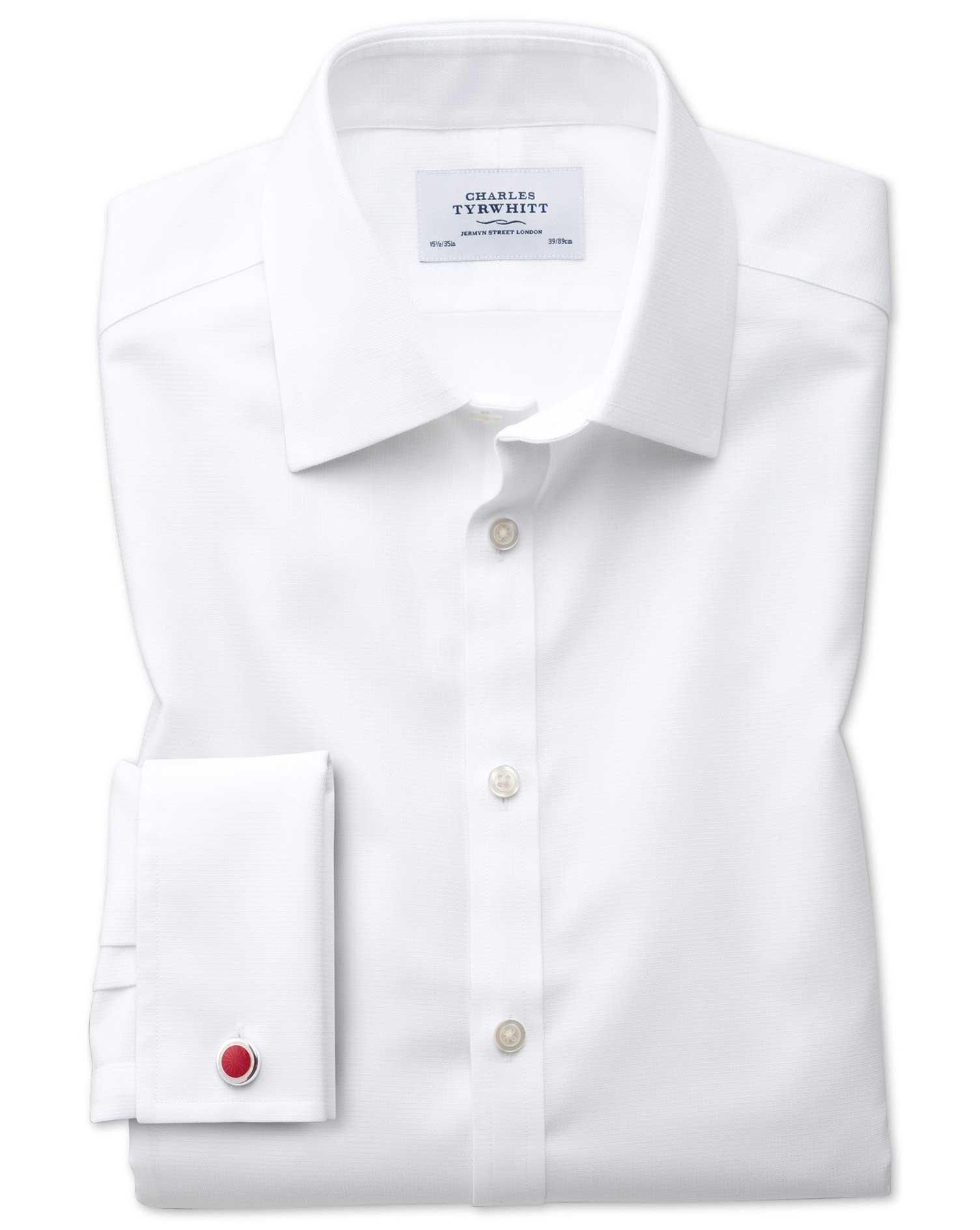 Bügelfreies Classic Fit Hemd in Weiß mit gewebt...