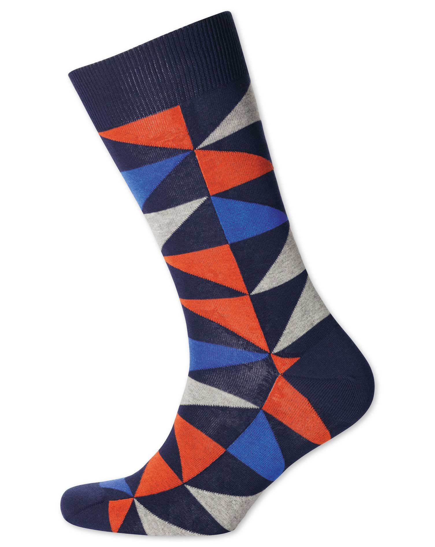 Orange and Blue Multi Triangle Socks Size Large by Charles Tyrwhitt