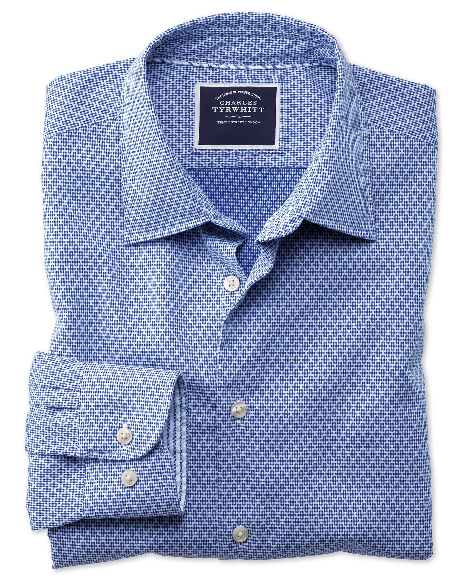 Slim Fit Washed Royal Blue Gingham Textured Cotton Shirt Single Cuff Size Medium by Charles Tyrwhitt